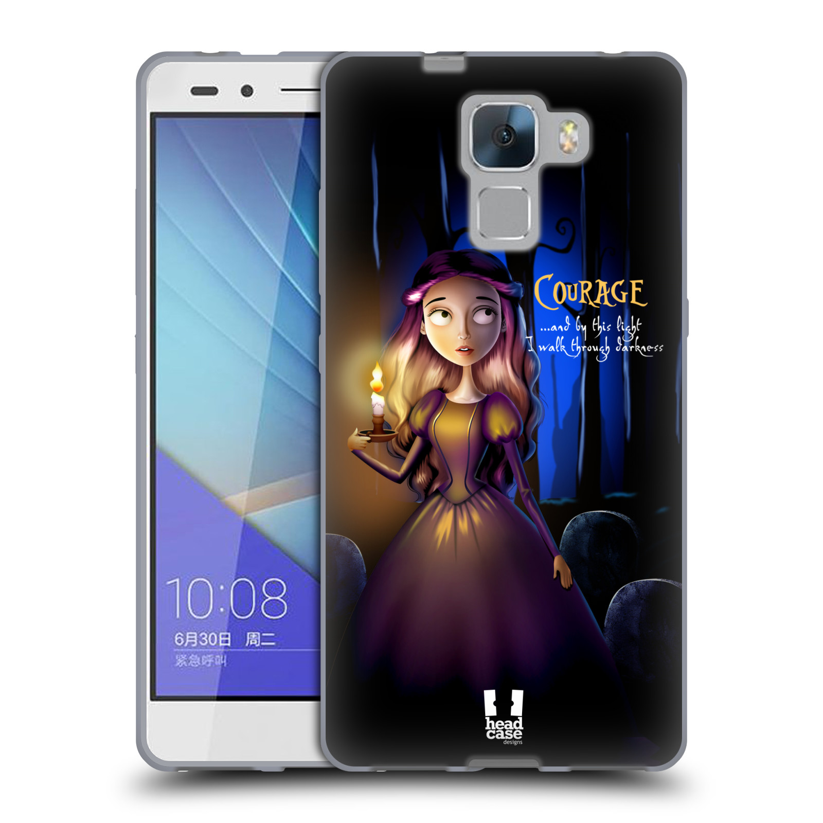 Silikonové pouzdro na mobil Honor 7 HEAD CASE MACABRE COURAGE