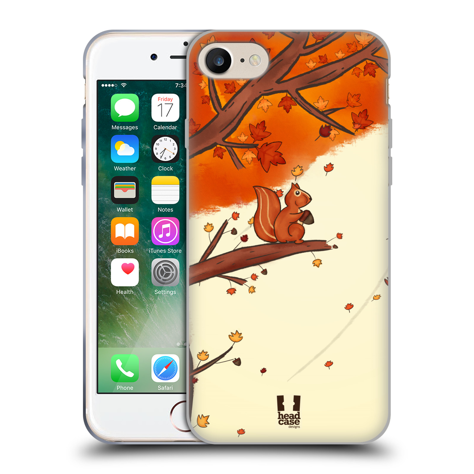 Silikonové pouzdro na mobil Apple iPhone 8 - Head Case - PODZIMNÍ VEVERKA