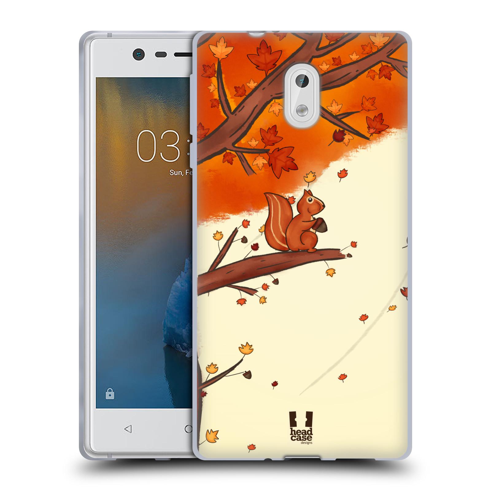 Silikonové pouzdro na mobil Nokia 3 Head Case - PODZIMNÍ VEVERKA