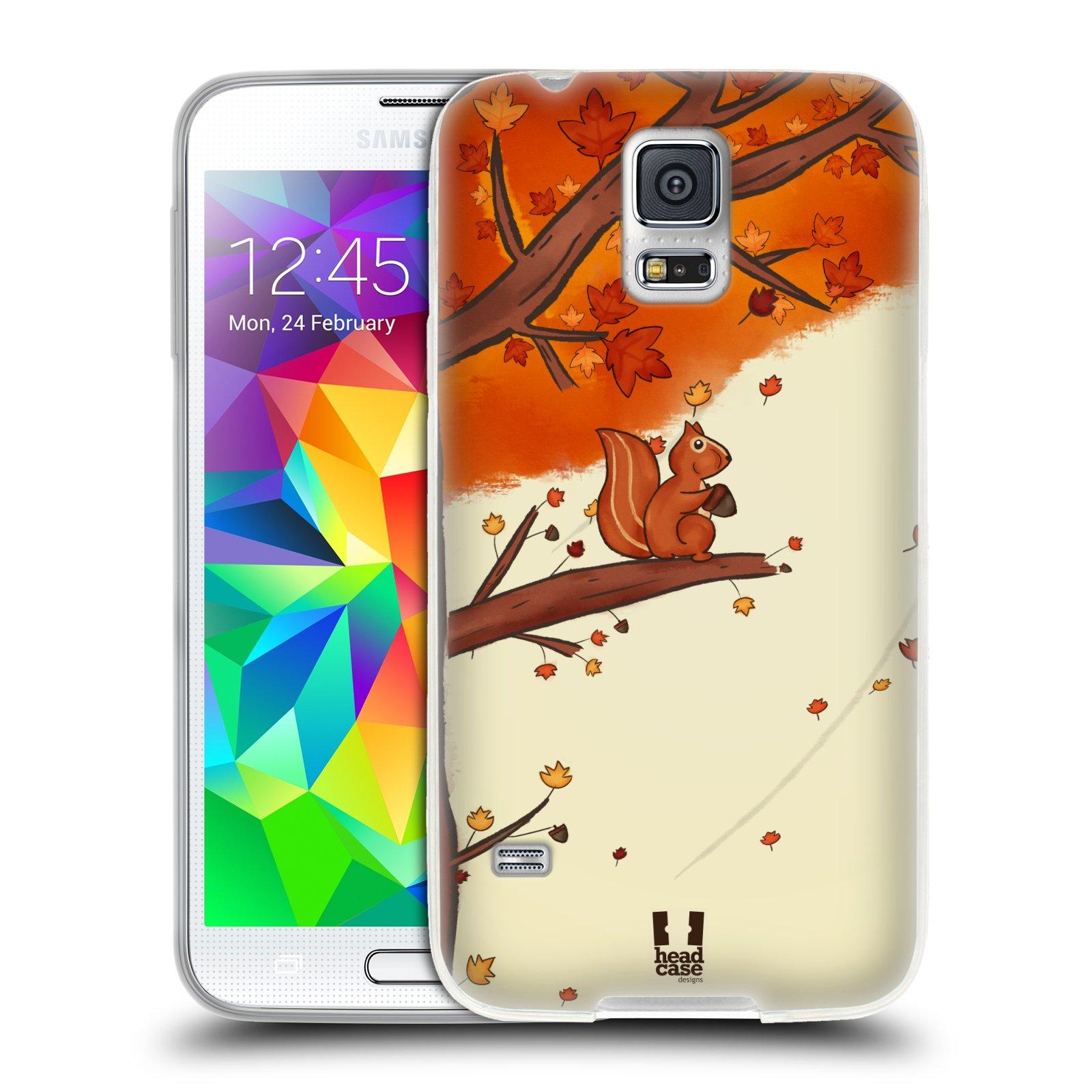 Silikonové pouzdro na mobil Samsung Galaxy S5 HEAD CASE PODZIMNÍ VEVERKA