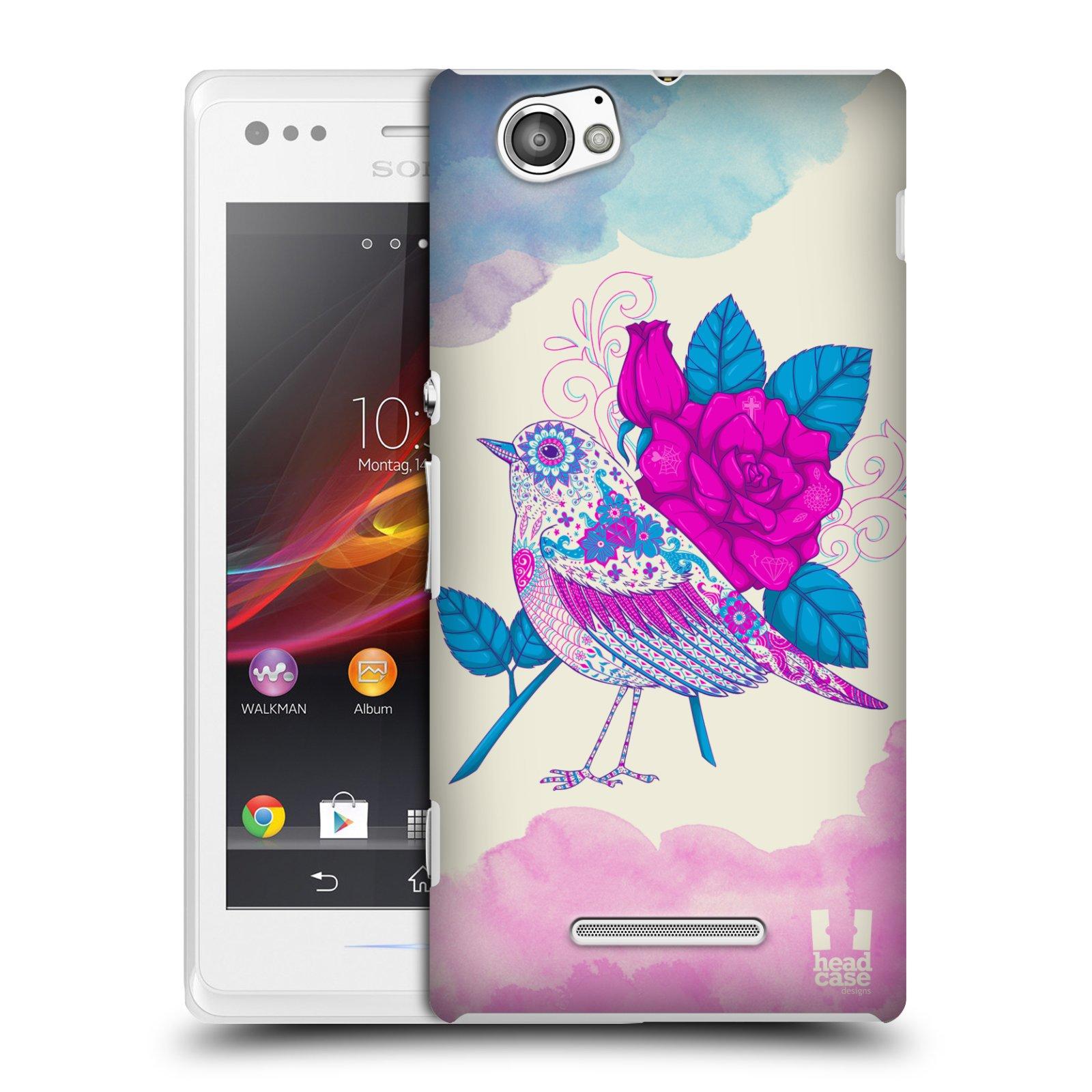 Plastové pouzdro na mobil Sony Xperia M C1905 HEAD CASE PTÁČEK FUCHSIA