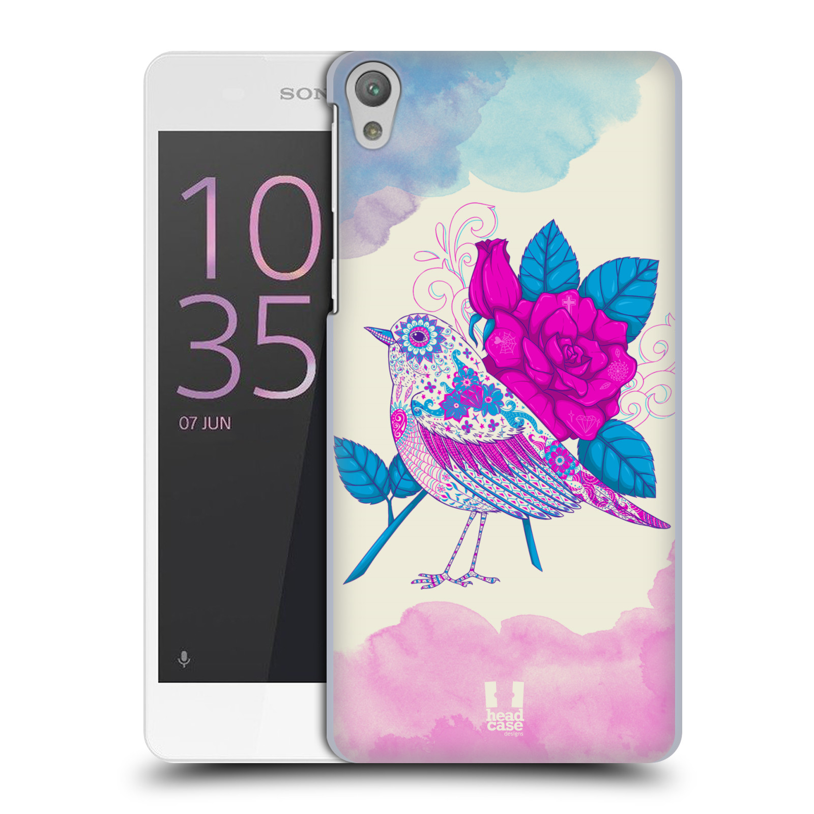 Plastové pouzdro na mobil Sony Xperia E5 HEAD CASE PTÁČEK FUCHSIA