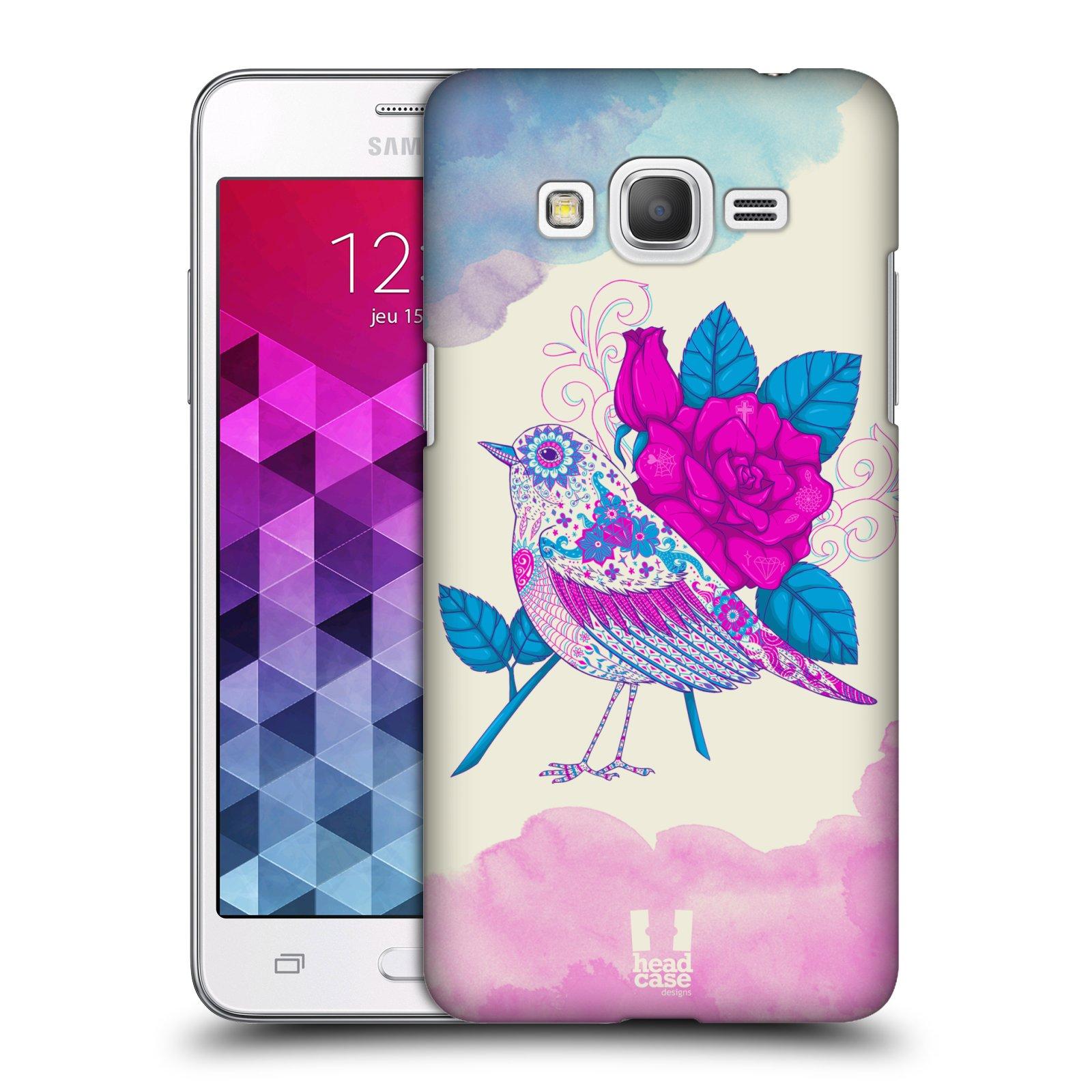 Plastové pouzdro na mobil Samsung Galaxy Grand Prime HEAD CASE PTÁČEK FUCHSIA