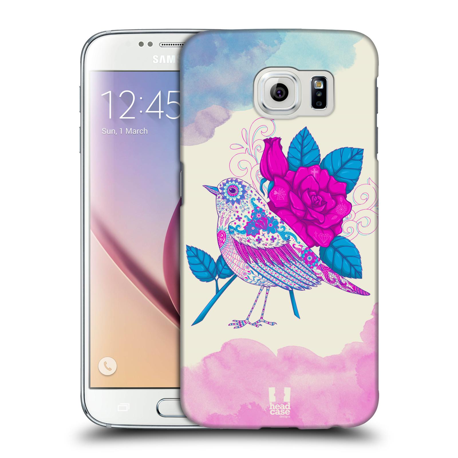 Plastové pouzdro na mobil Samsung Galaxy S6 HEAD CASE PTÁČEK FUCHSIA