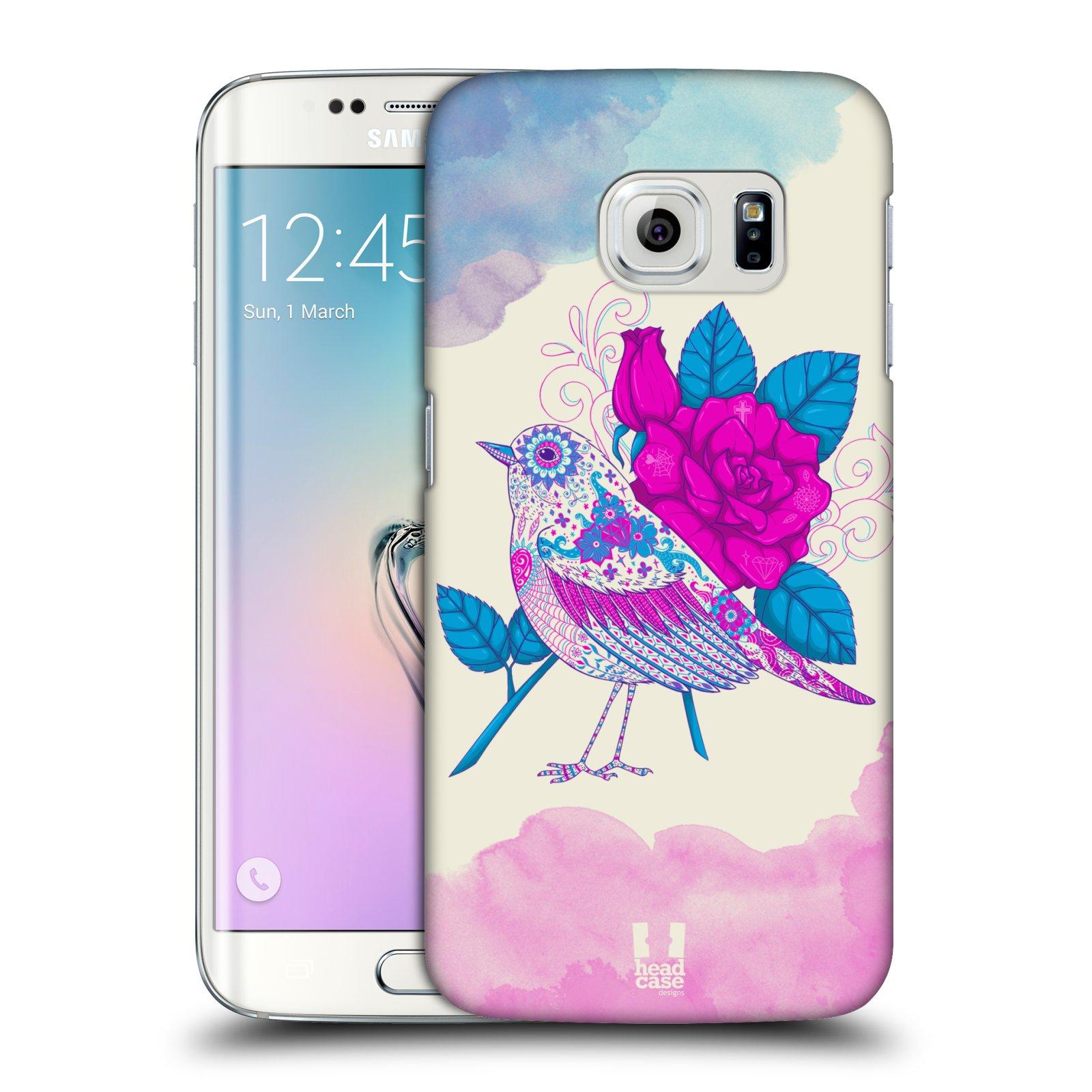 Plastové pouzdro na mobil Samsung Galaxy S6 Edge HEAD CASE PTÁČEK FUCHSIA