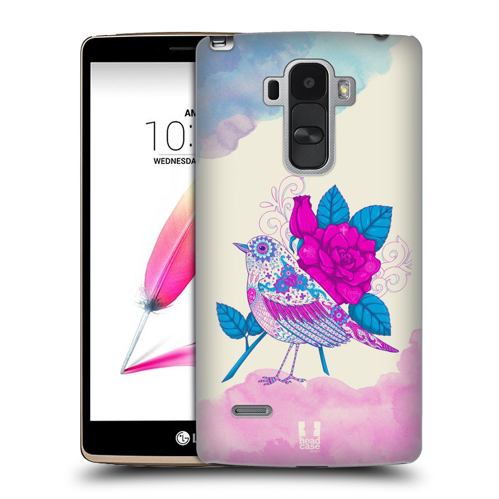 Plastové pouzdro na mobil LG G4 Stylus HEAD CASE PTÁČEK FUCHSIA