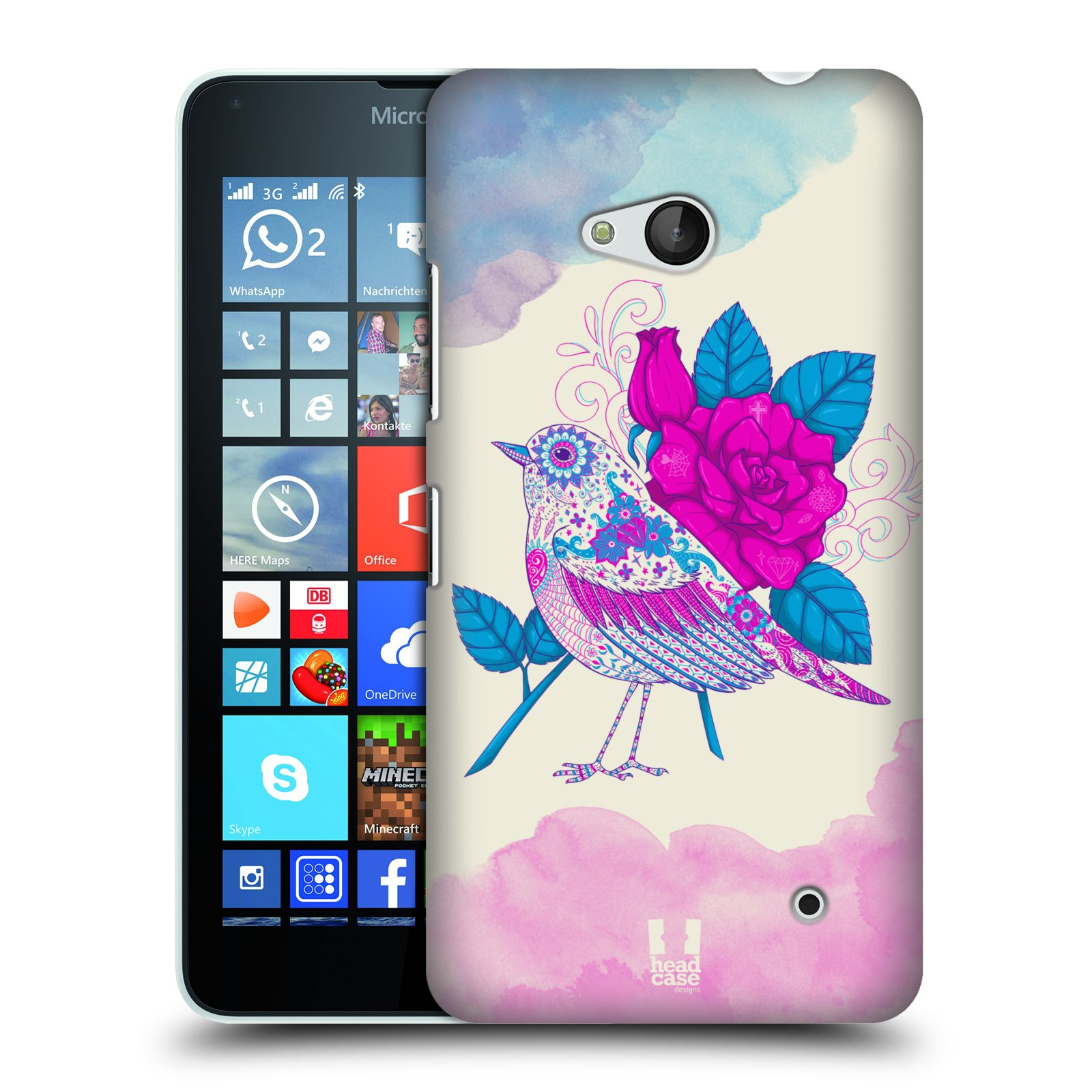 Plastové pouzdro na mobil Microsoft Lumia 640 HEAD CASE PTÁČEK FUCHSIA