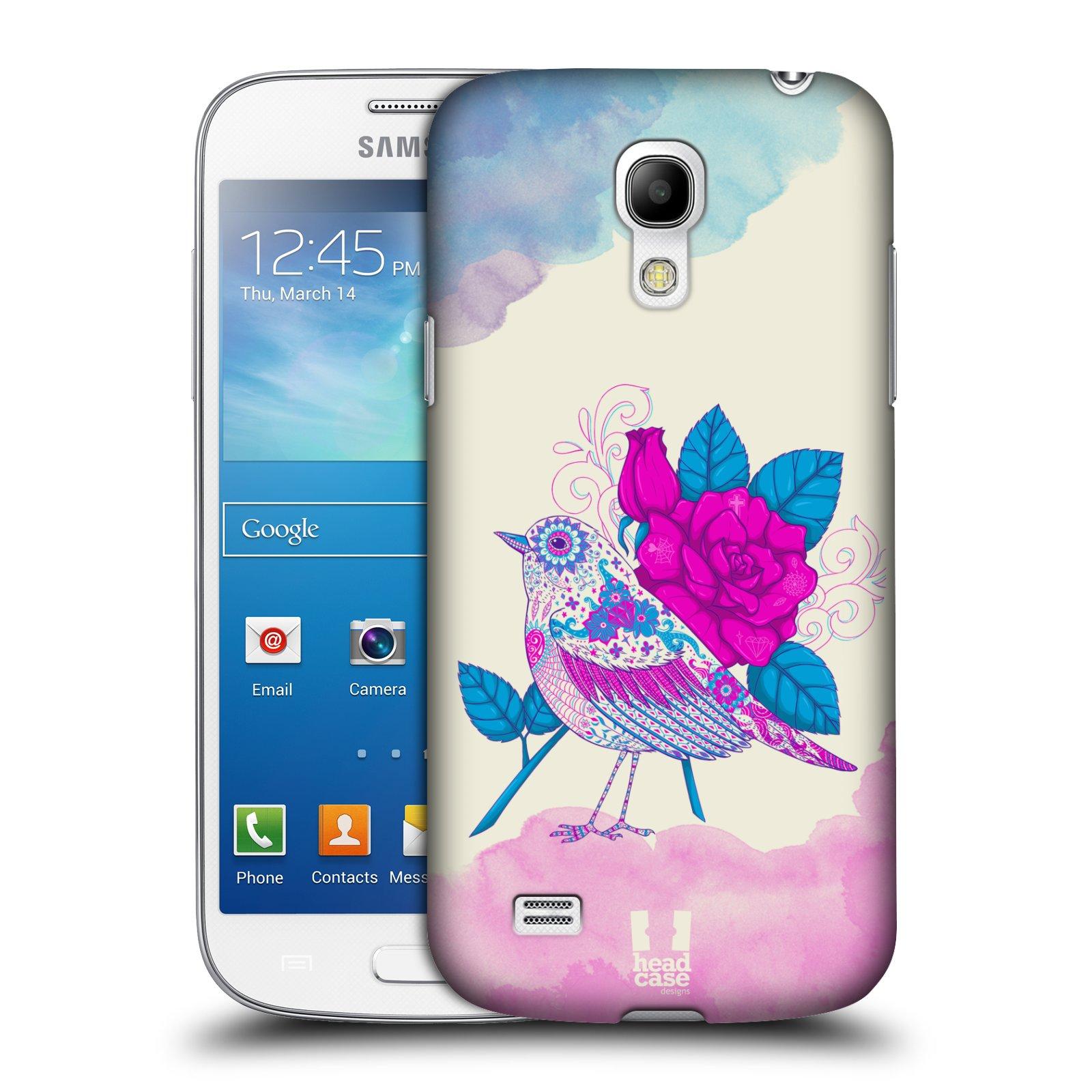 Plastové pouzdro na mobil Samsung Galaxy S4 Mini VE HEAD CASE PTÁČEK FUCHSIA
