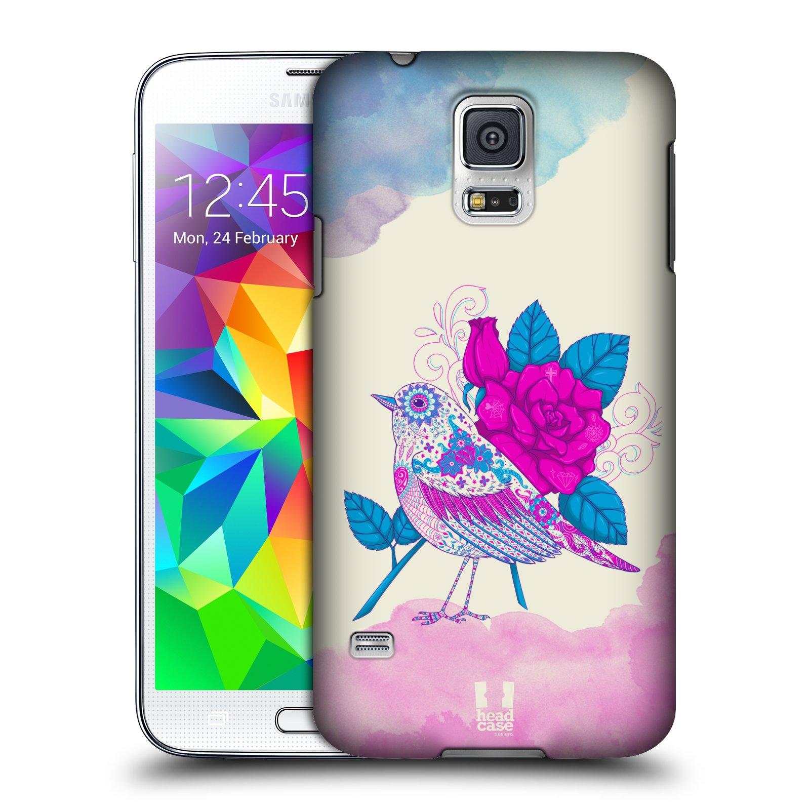 Plastové pouzdro na mobil Samsung Galaxy S5 HEAD CASE PTÁČEK FUCHSIA