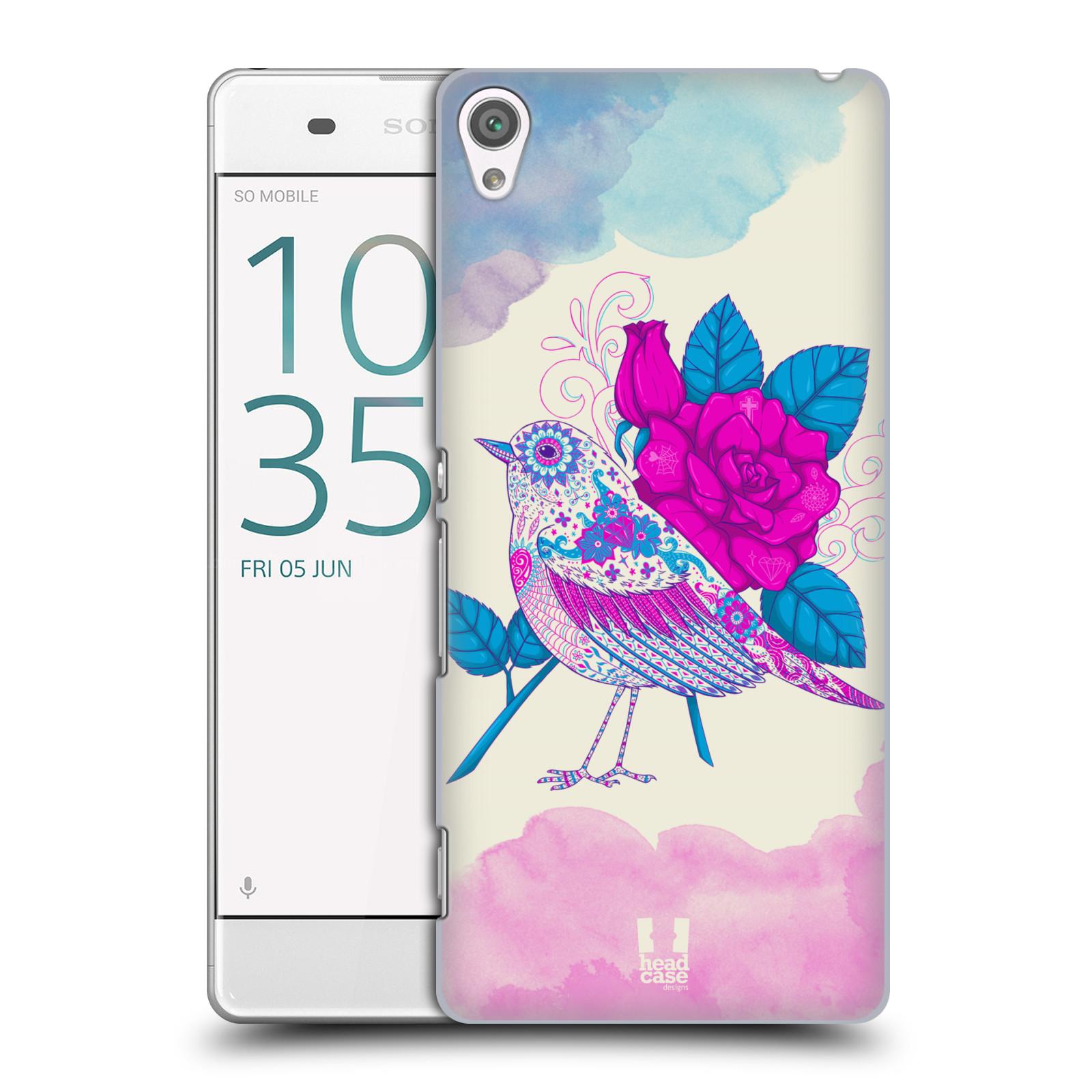 Plastové pouzdro na mobil Sony Xperia XA HEAD CASE PTÁČEK FUCHSIA