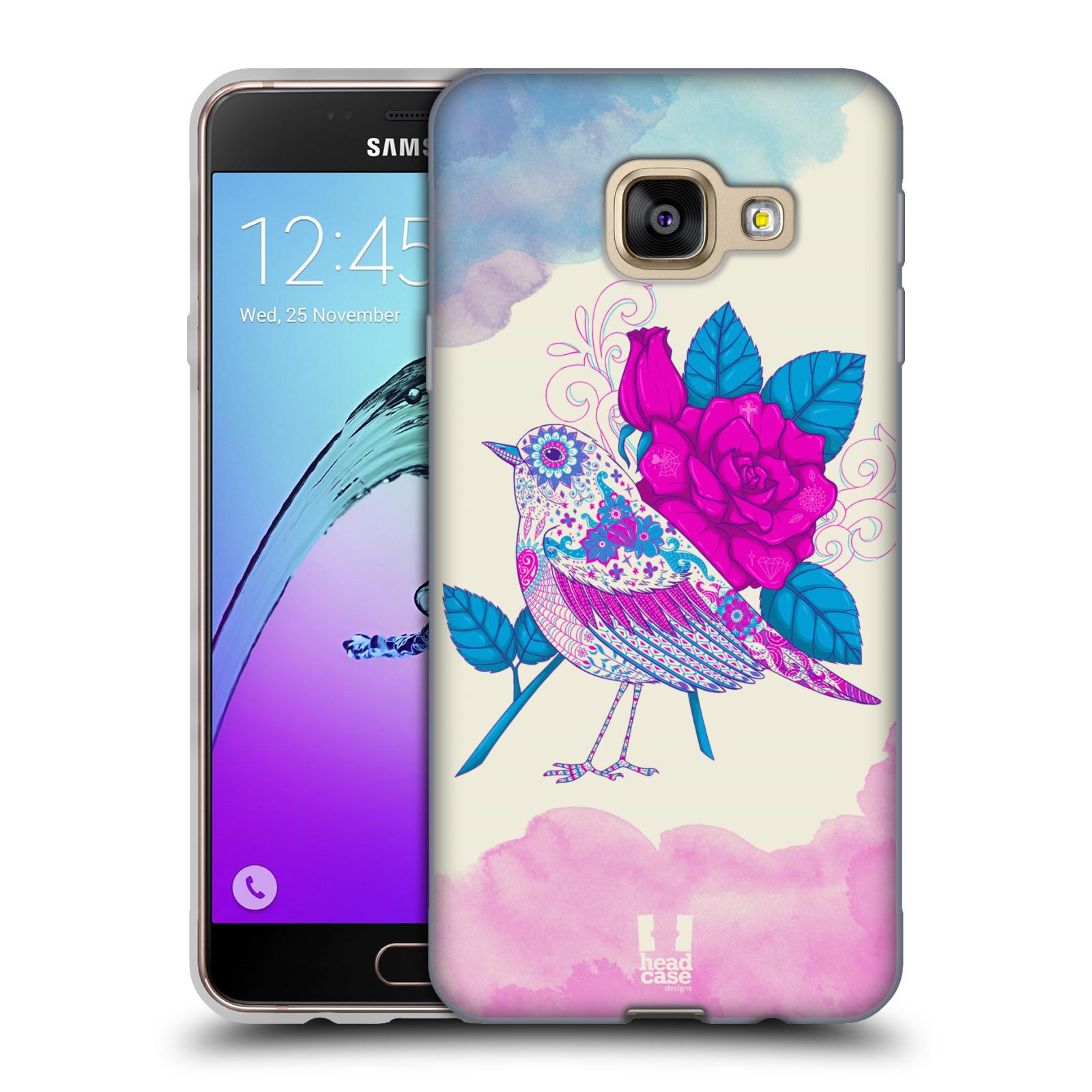 Silikonové pouzdro na mobil Samsung Galaxy A3 (2016) HEAD CASE PTÁČEK FUCHSIA
