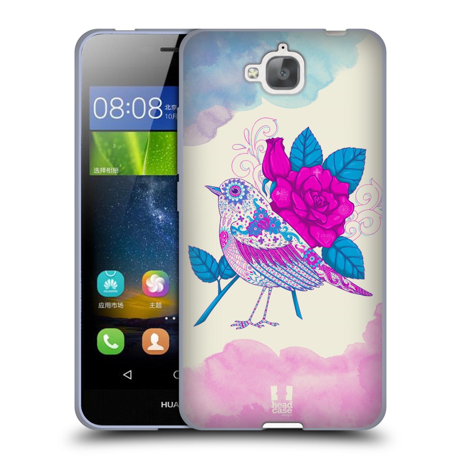 Silikonové pouzdro na mobil Huawei Y6 Pro Dual Sim HEAD CASE PTÁČEK FUCHSIA