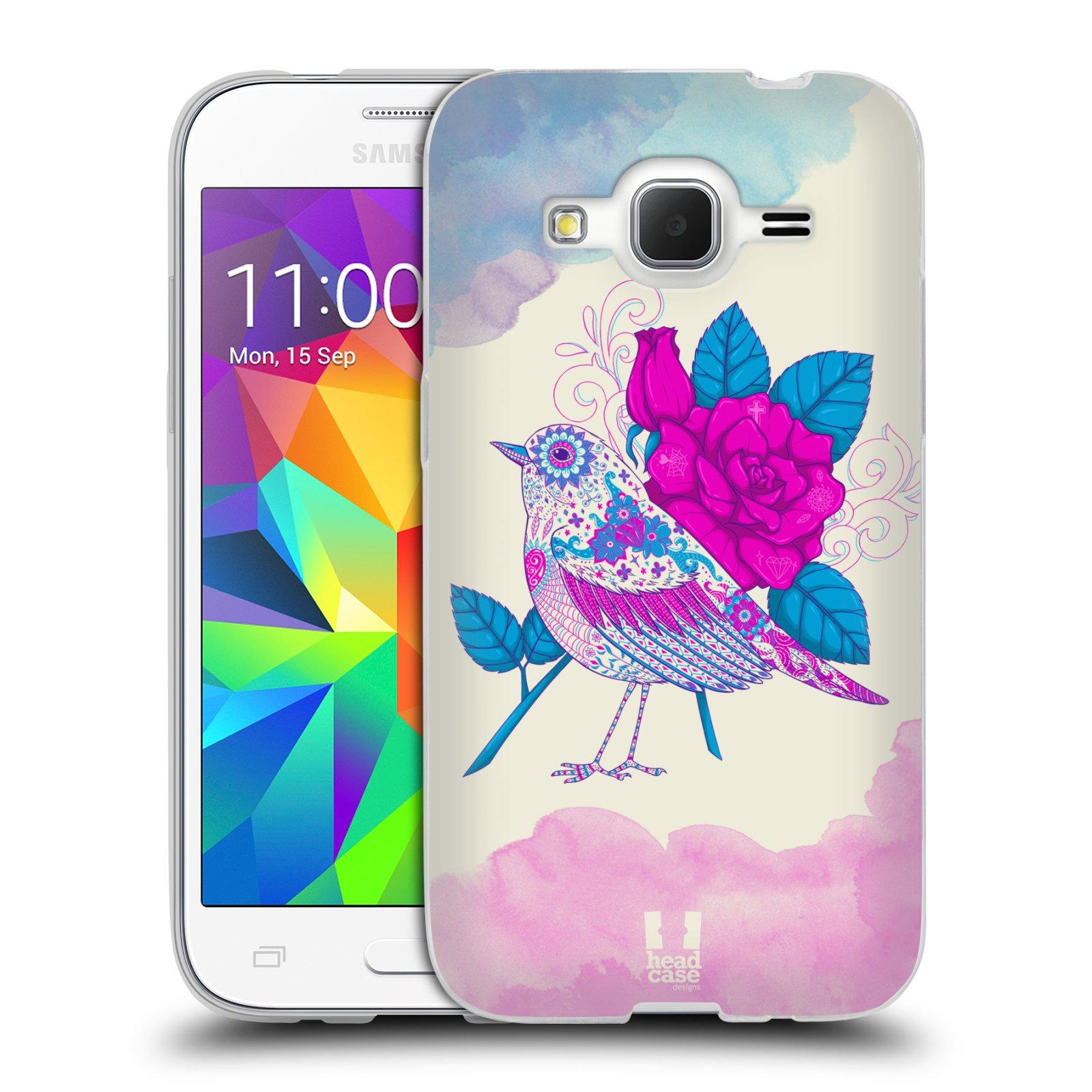 Silikonové pouzdro na mobil Samsung Galaxy Core Prime LTE HEAD CASE PTÁČEK FUCHSIA