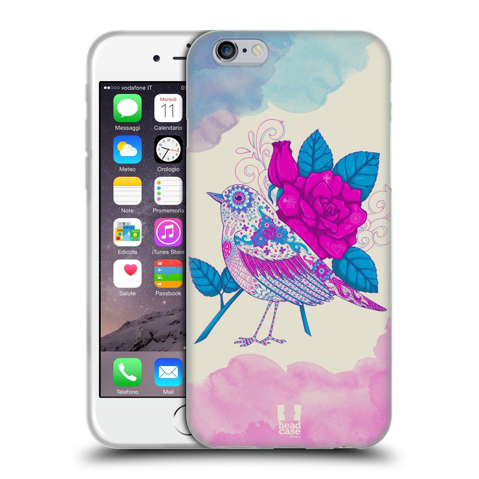 Silikonové pouzdro na mobil Apple iPhone 6 a 6S HEAD CASE PTÁČEK FUCHSIA