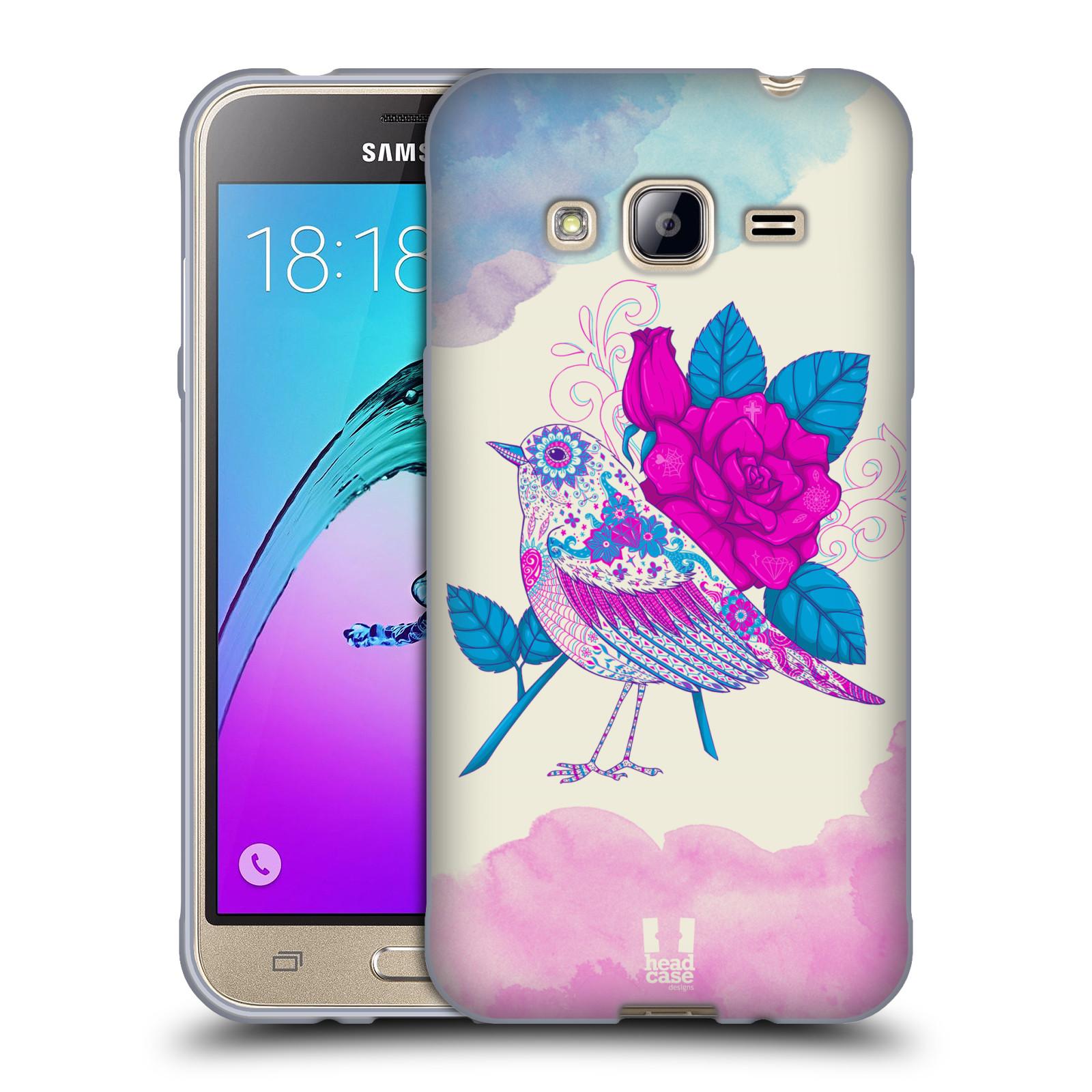 Silikonové pouzdro na mobil Samsung Galaxy J3 (2016) HEAD CASE PTÁČEK FUCHSIA