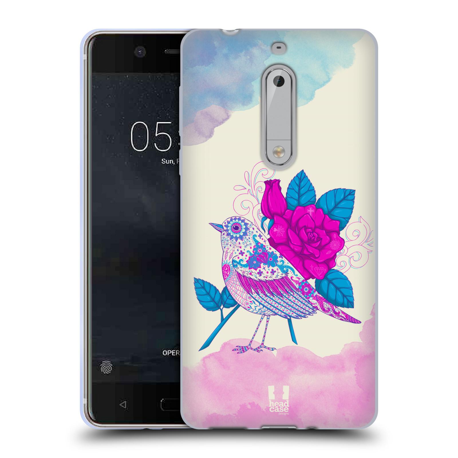 Silikonové pouzdro na mobil Nokia 5 Head Case - PTÁČEK FUCHSIA