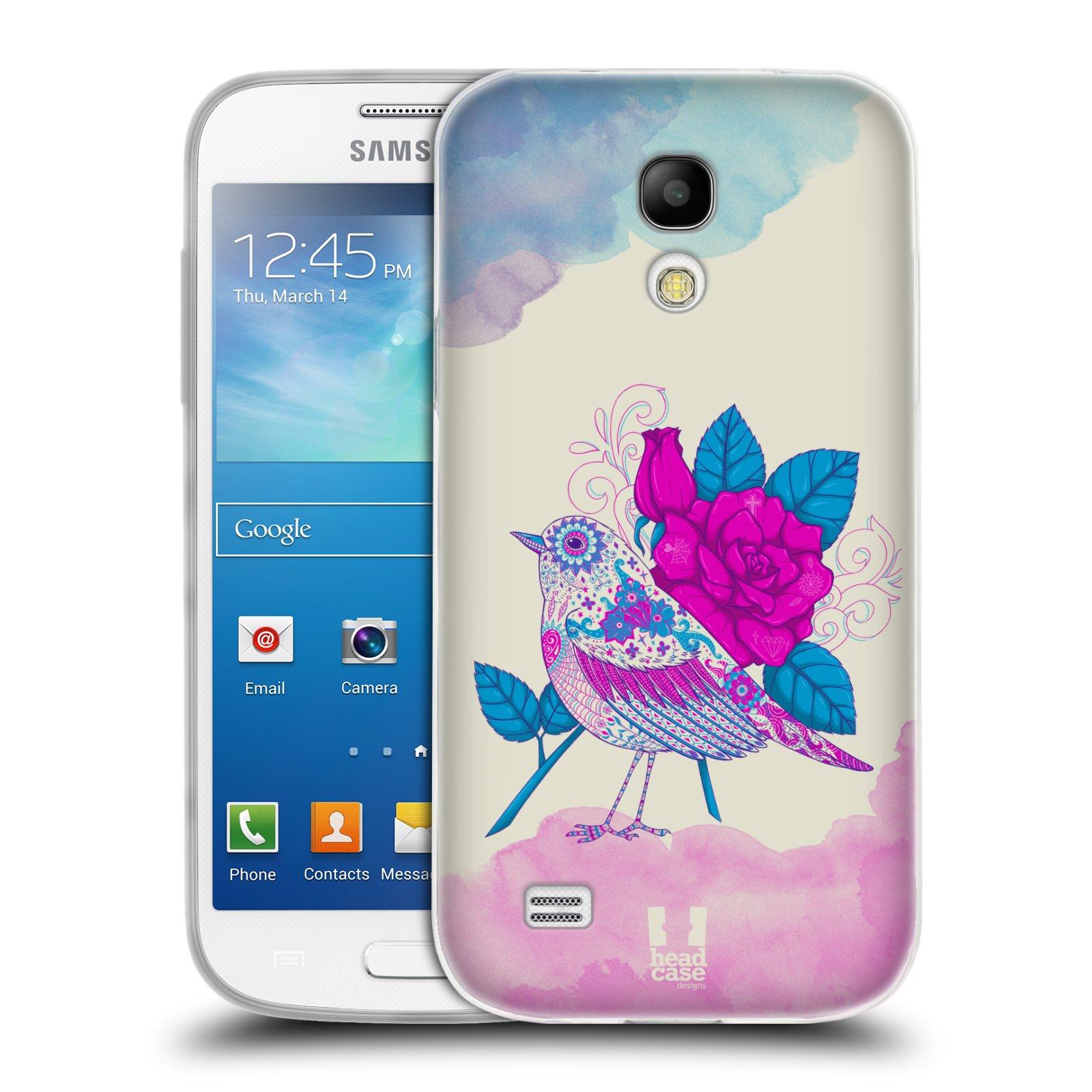 Silikonové pouzdro na mobil Samsung Galaxy S4 Mini HEAD CASE PTÁČEK FUCHSIA