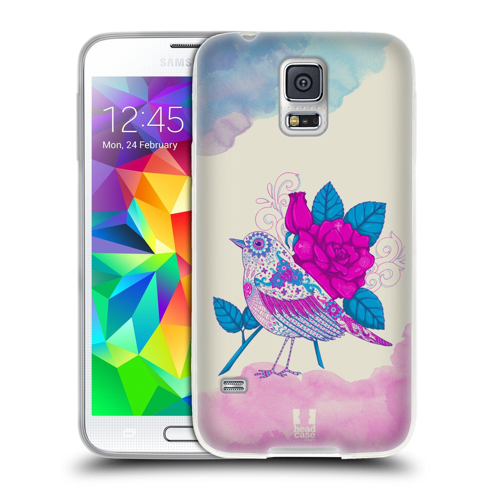 Silikonové pouzdro na mobil Samsung Galaxy S5 HEAD CASE PTÁČEK FUCHSIA