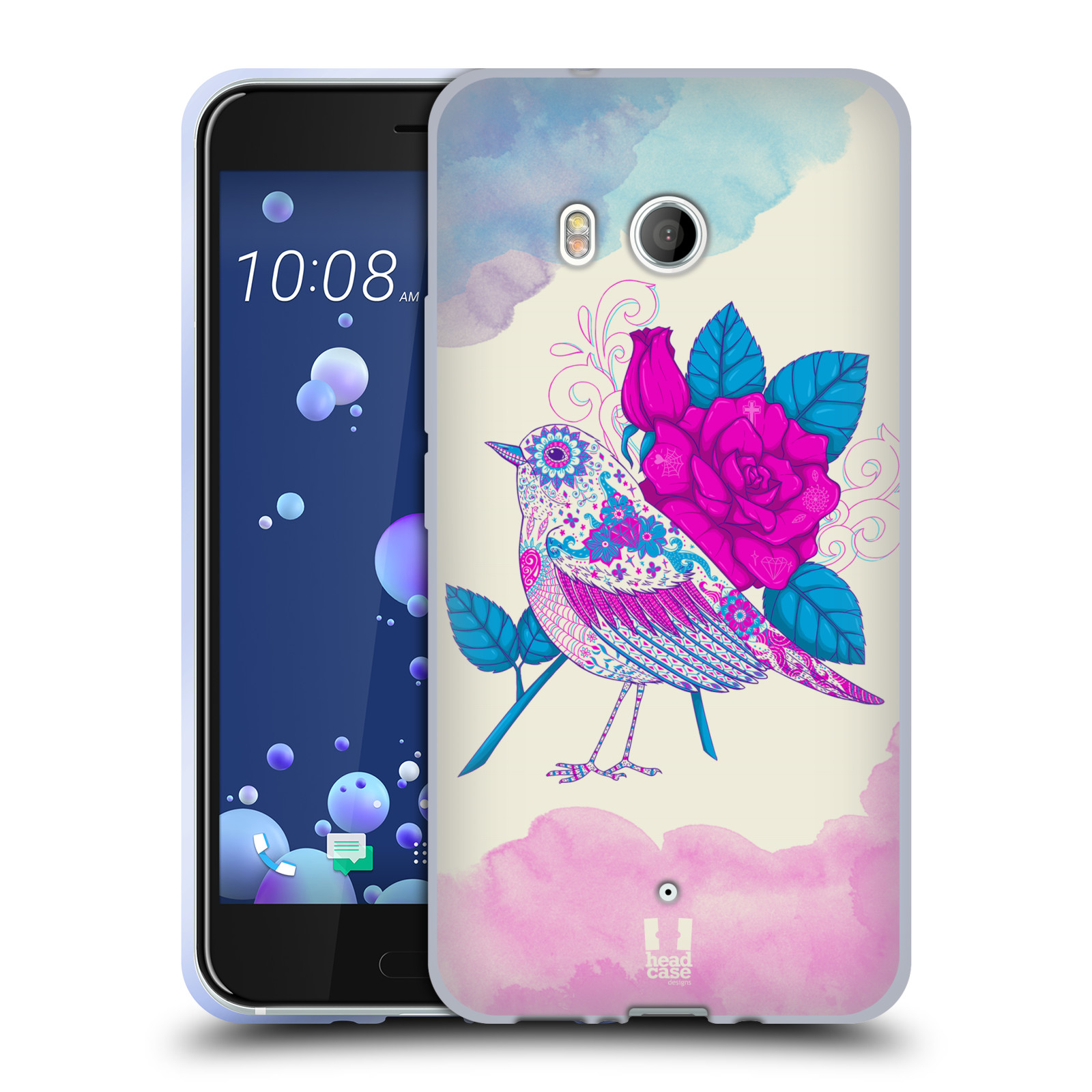Silikonové pouzdro na mobil HTC U11 - Head Case - PTÁČEK FUCHSIA