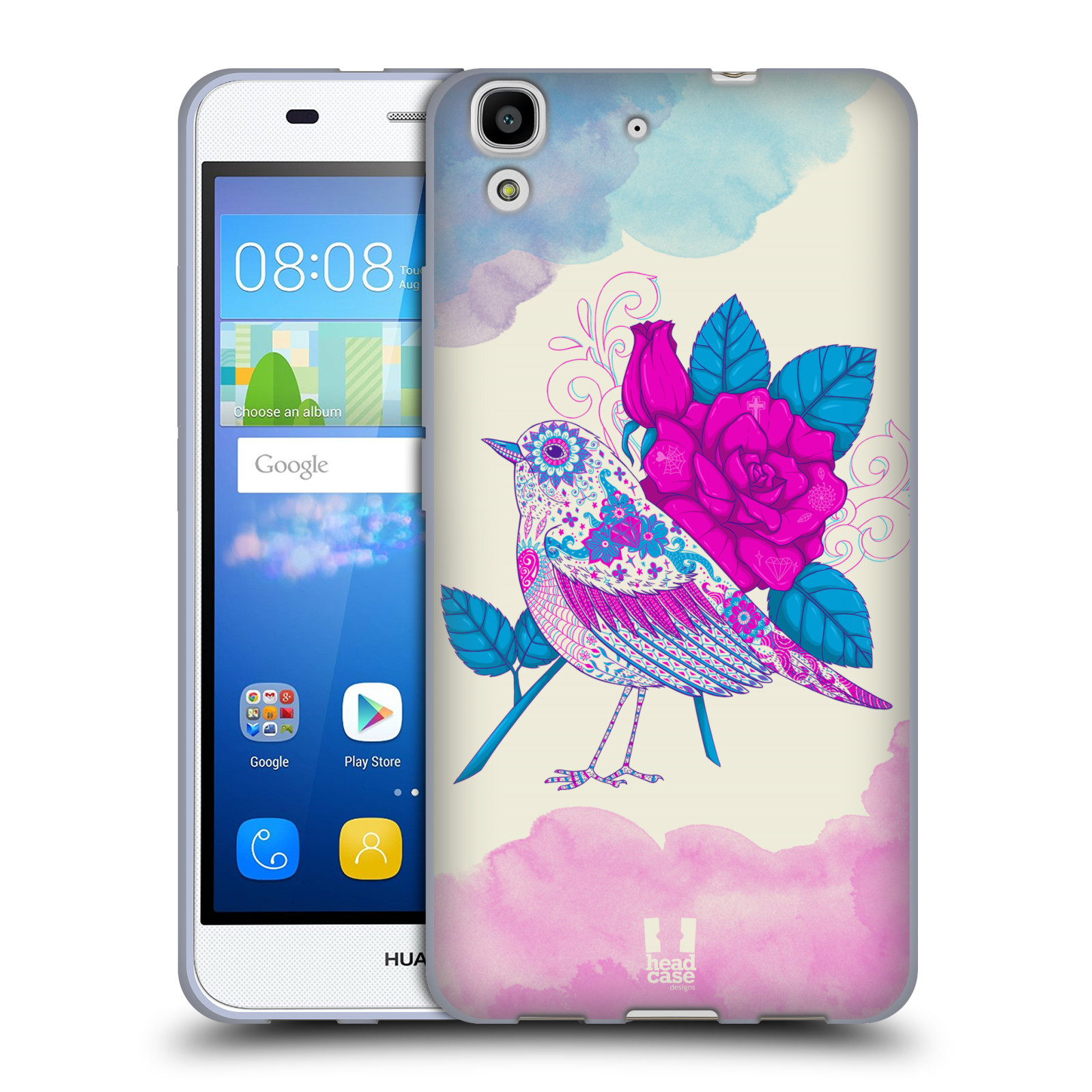 Silikonové pouzdro na mobil Huawei Y6 HEAD CASE PTÁČEK FUCHSIA