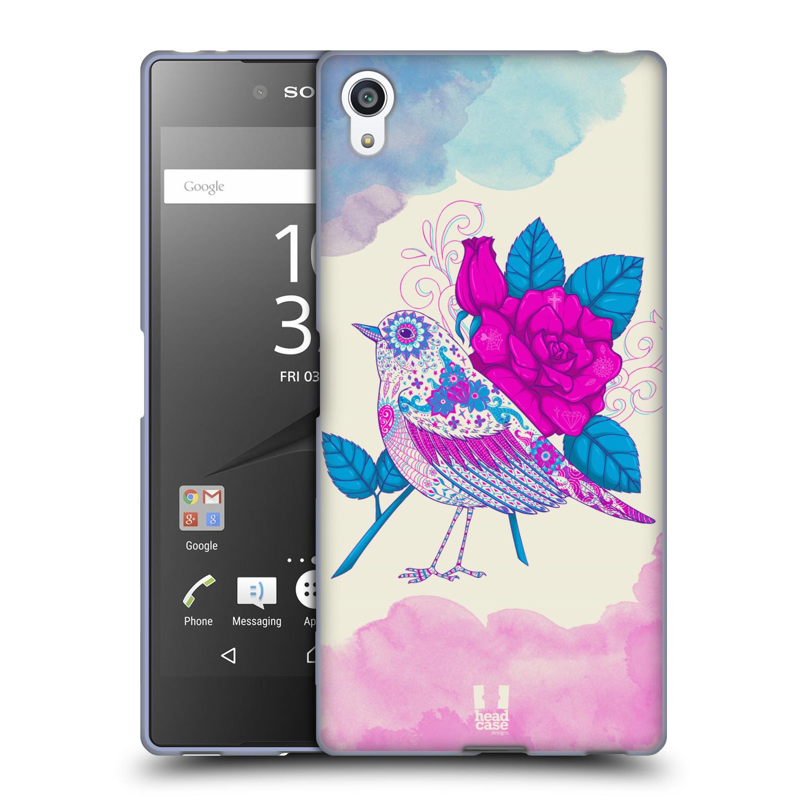 Silikonové pouzdro na mobil Sony Xperia Z5 Premium HEAD CASE PTÁČEK FUCHSIA
