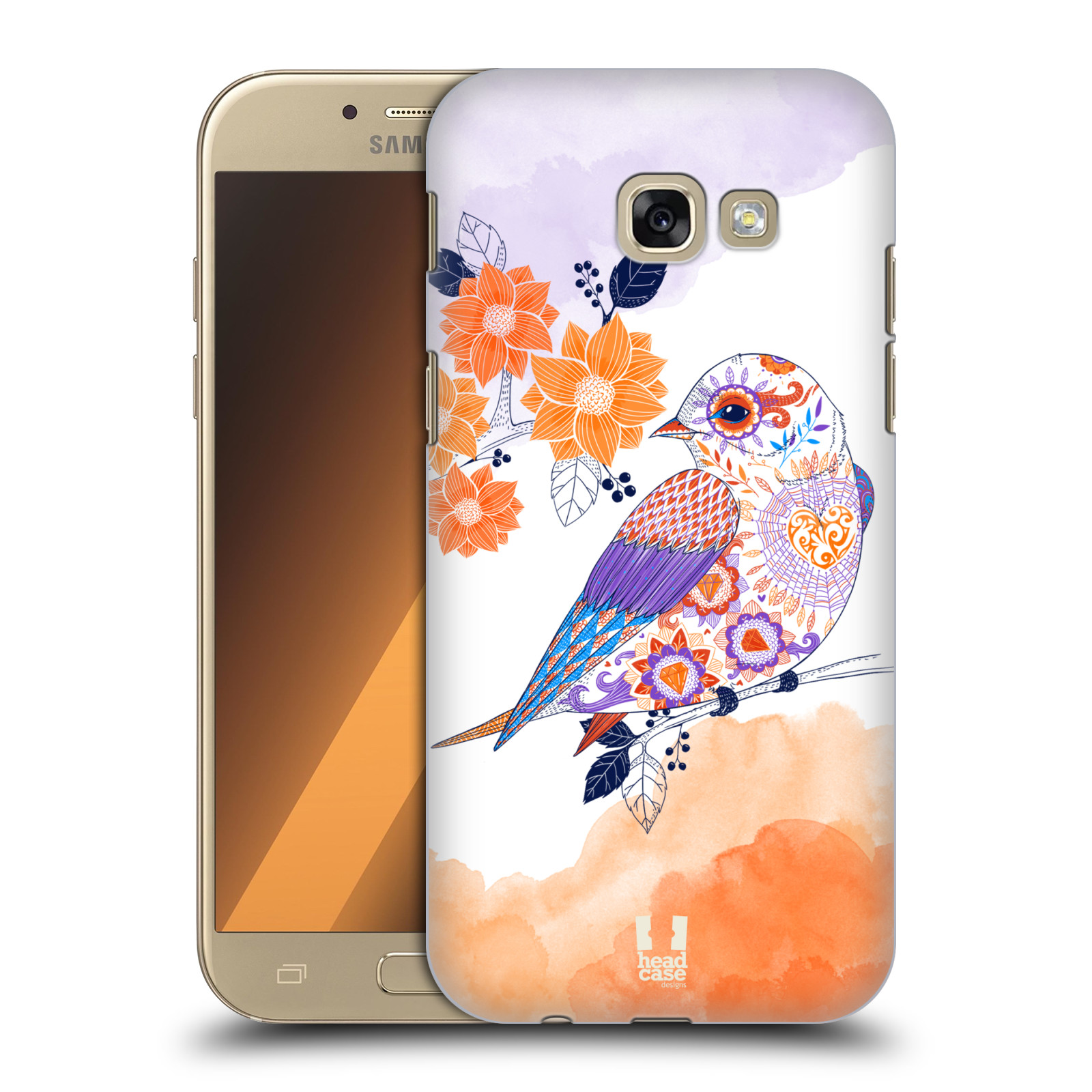 Plastové pouzdro na mobil Samsung Galaxy A5 (2017) HEAD CASE PTÁČEK TANGERINE