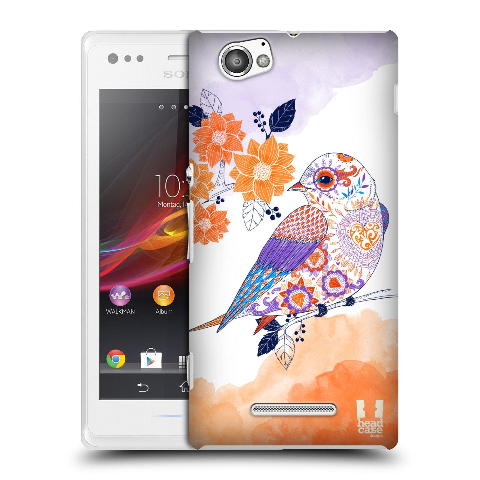 Plastové pouzdro na mobil Sony Xperia M C1905 HEAD CASE PTÁČEK TANGERINE