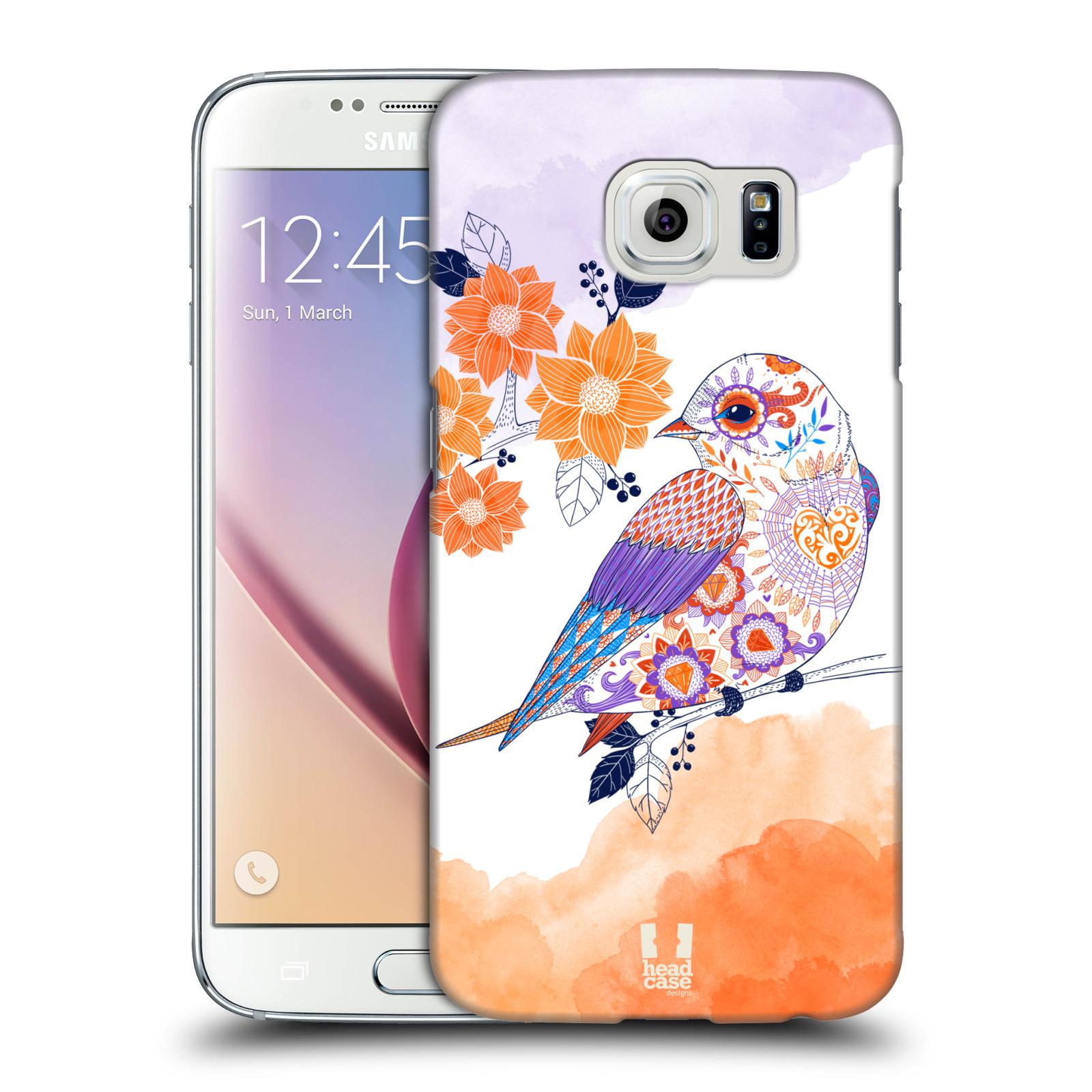 Plastové pouzdro na mobil Samsung Galaxy S6 HEAD CASE PTÁČEK TANGERINE