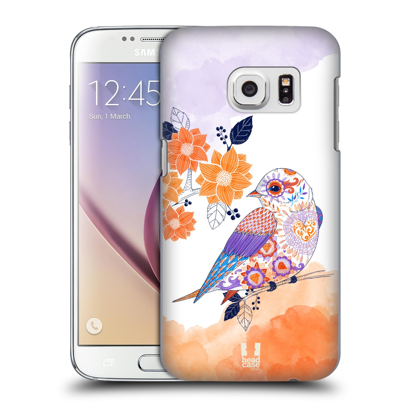 Plastové pouzdro na mobil Samsung Galaxy S7 HEAD CASE PTÁČEK TANGERINE (Kryt či obal na mobilní telefon Samsung Galaxy S7 SM-G930F)