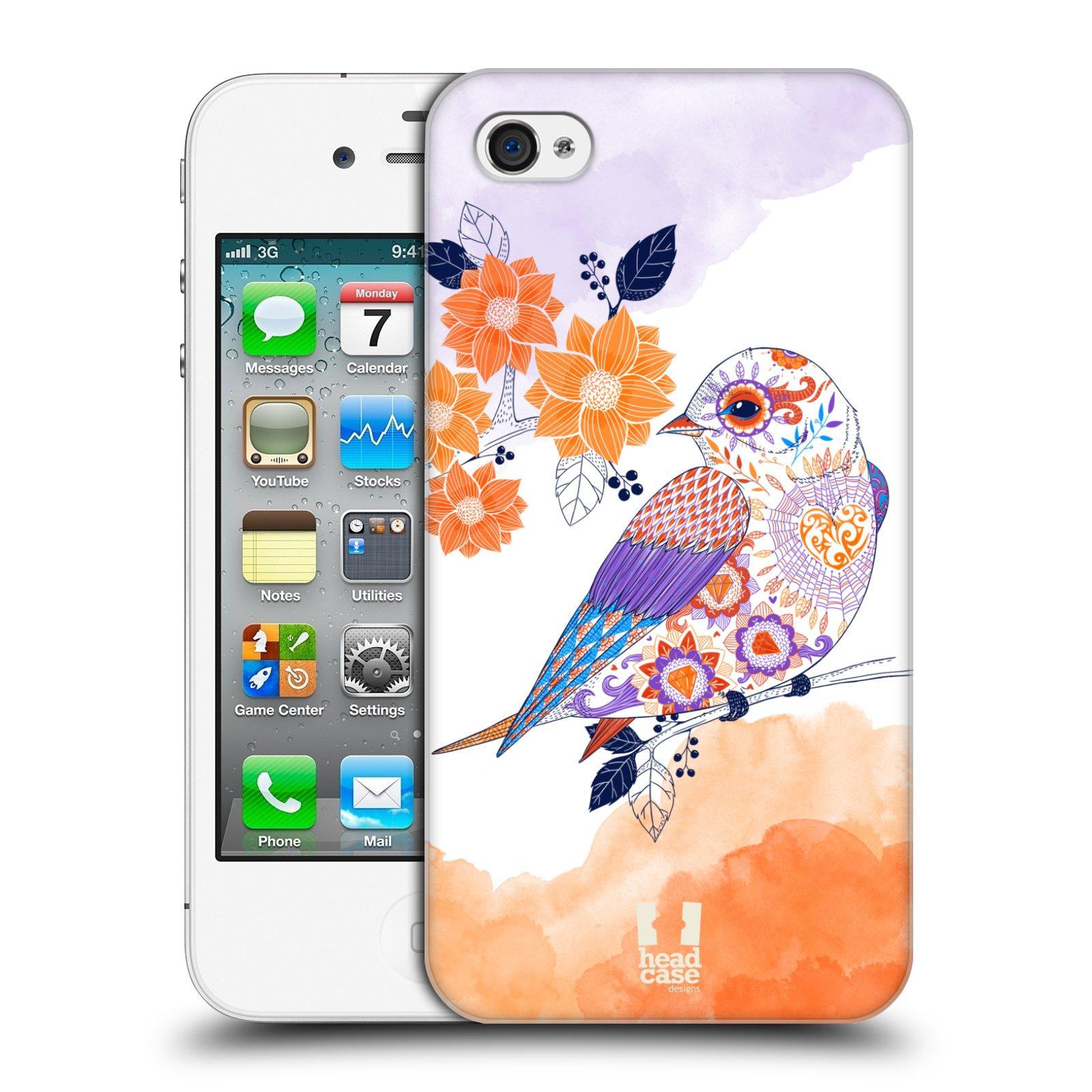 Plastové pouzdro na mobil Apple iPhone 4 a 4S HEAD CASE PTÁČEK TANGERINE