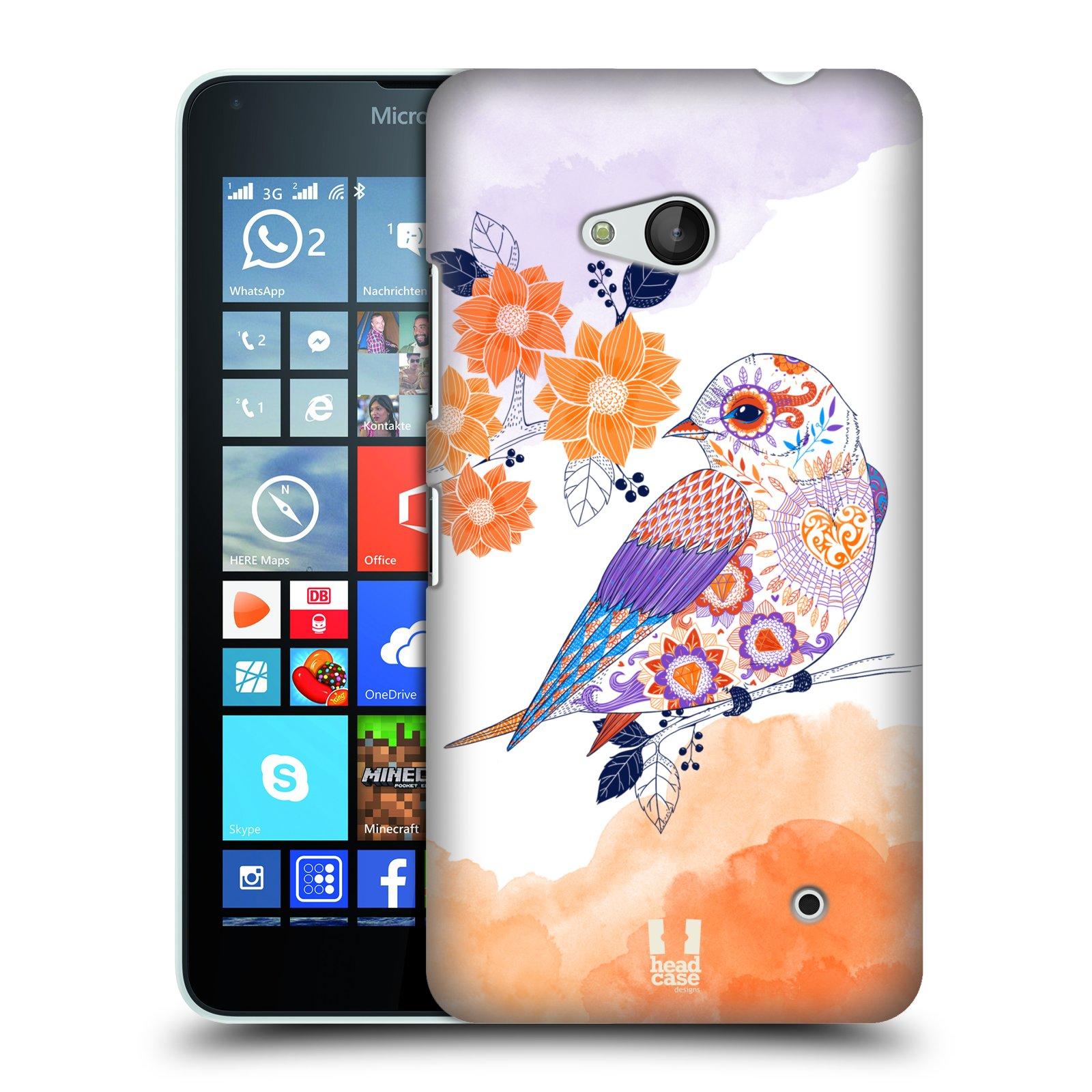 Plastové pouzdro na mobil Microsoft Lumia 640 HEAD CASE PTÁČEK TANGERINE
