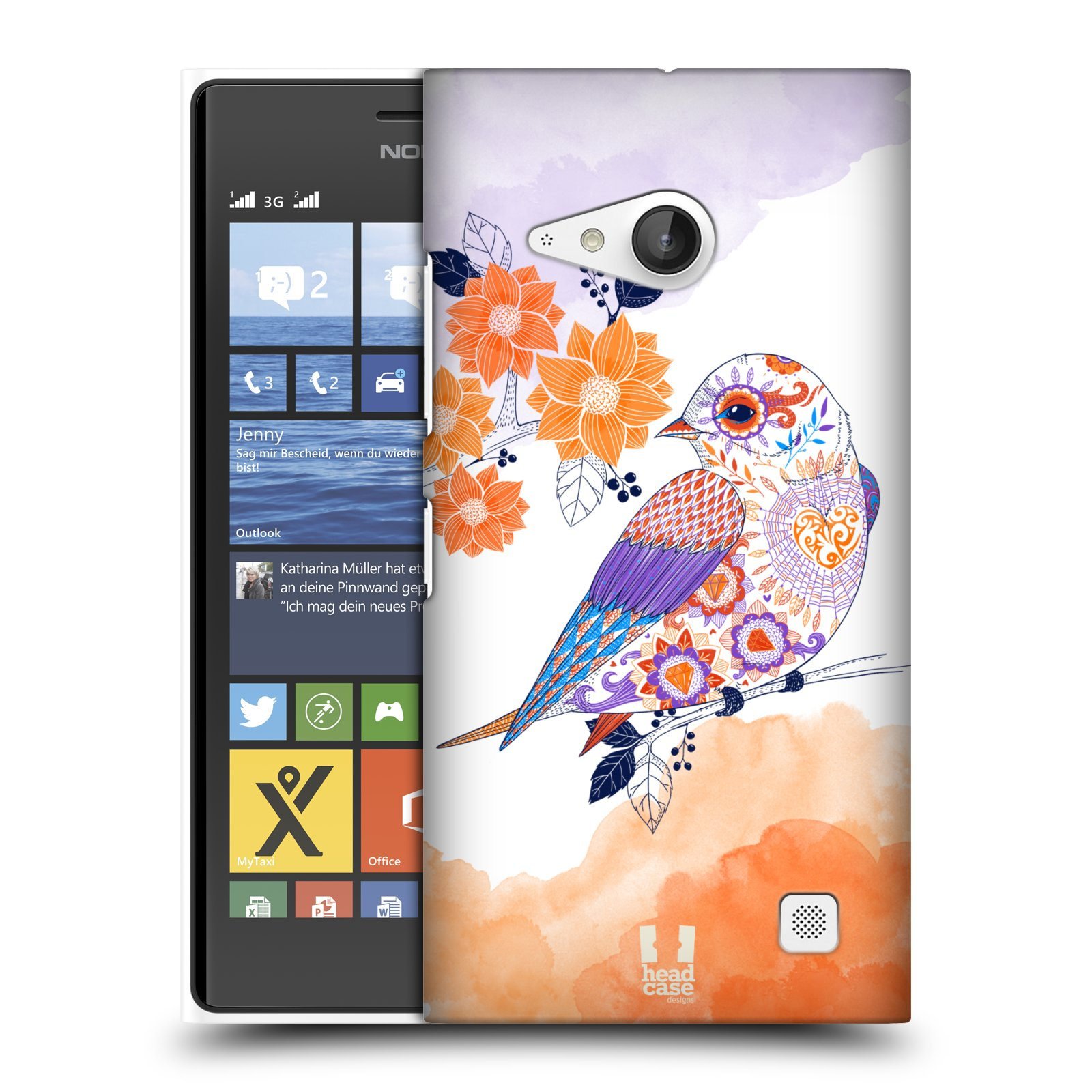Plastové pouzdro na mobil Nokia Lumia 735 HEAD CASE PTÁČEK TANGERINE