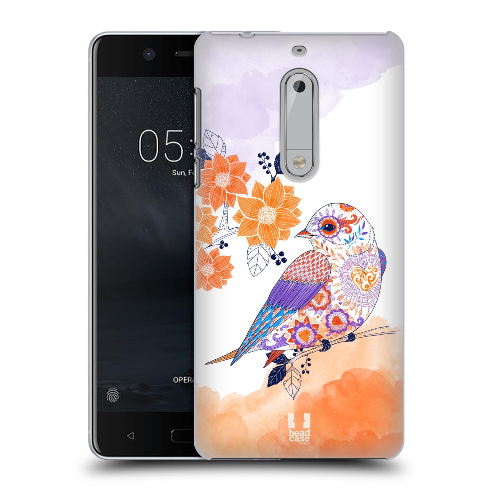 Plastové pouzdro na mobil Nokia 5 Head Case - PTÁČEK TANGERINE