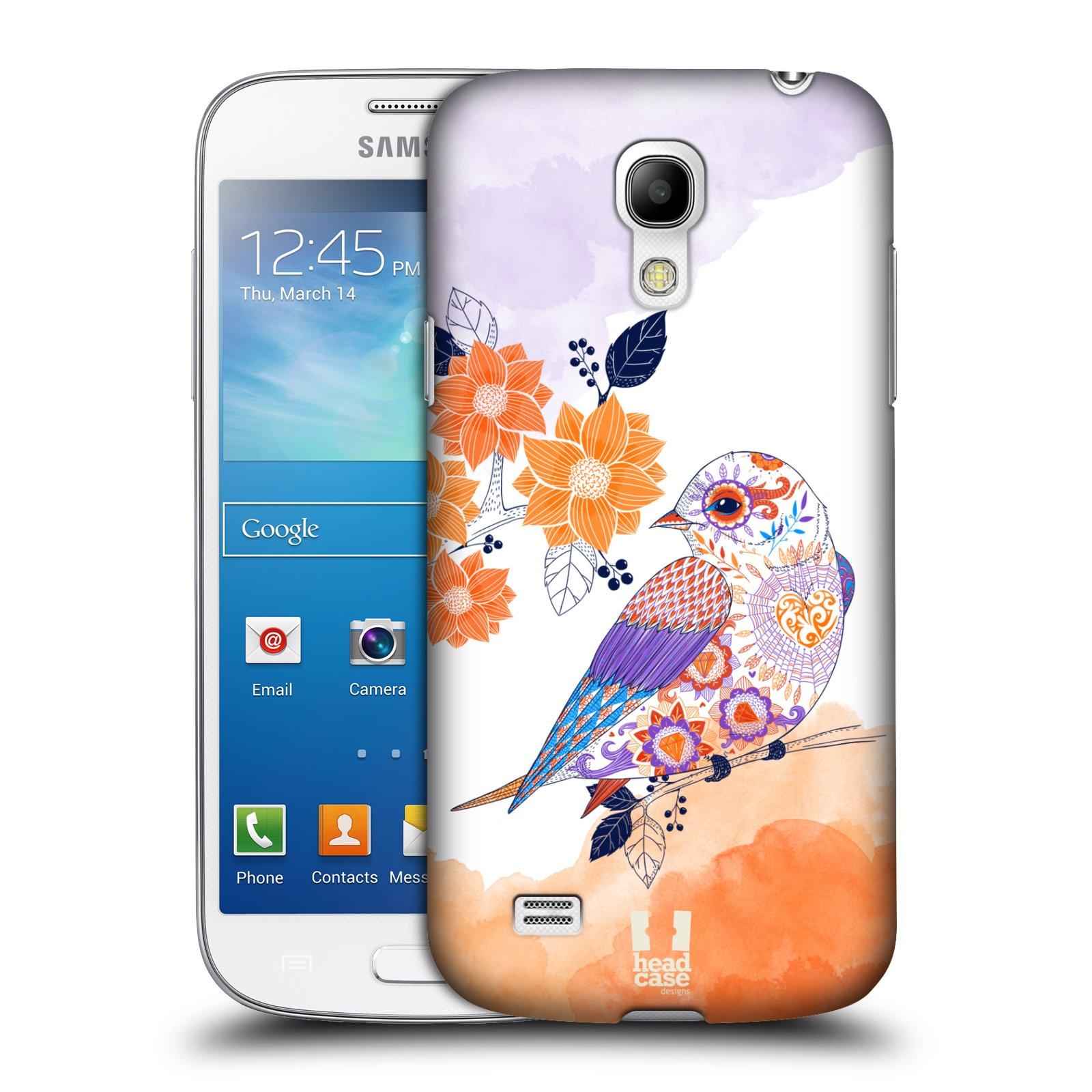 Plastové pouzdro na mobil Samsung Galaxy S4 Mini HEAD CASE PTÁČEK TANGERINE