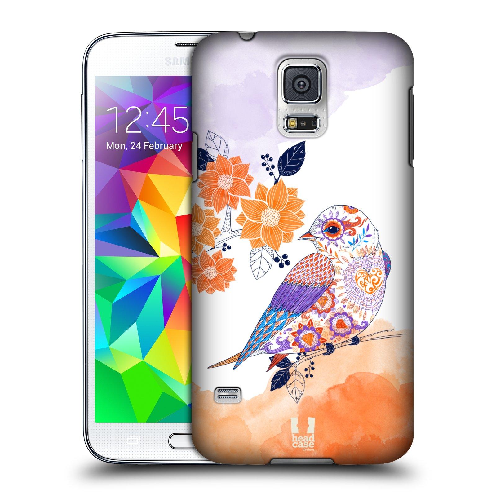 Plastové pouzdro na mobil Samsung Galaxy S5 HEAD CASE PTÁČEK TANGERINE