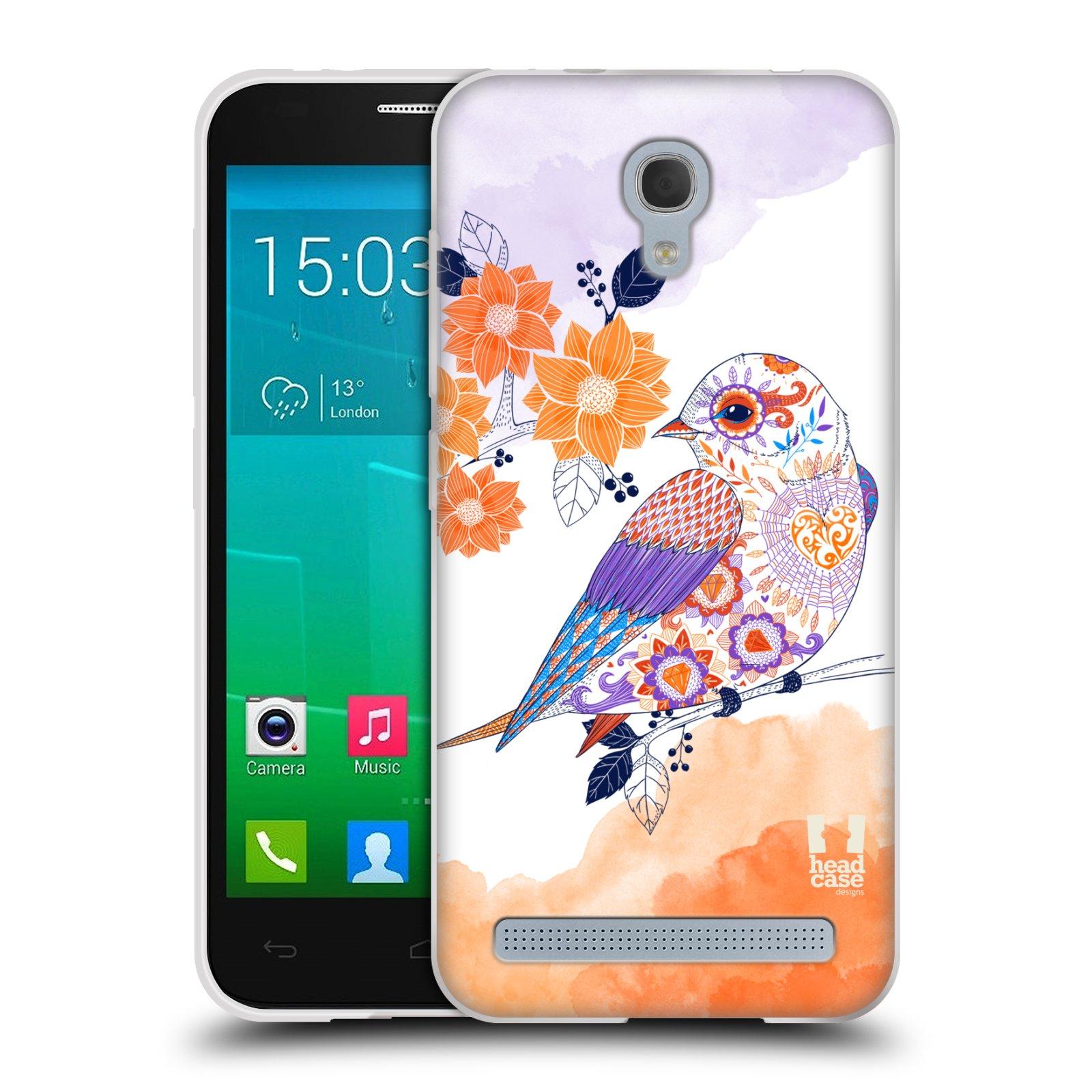 Silikonové pouzdro na mobil Alcatel One Touch Idol 2 Mini S 6036Y HEAD CASE PTÁČEK TANGERINE
