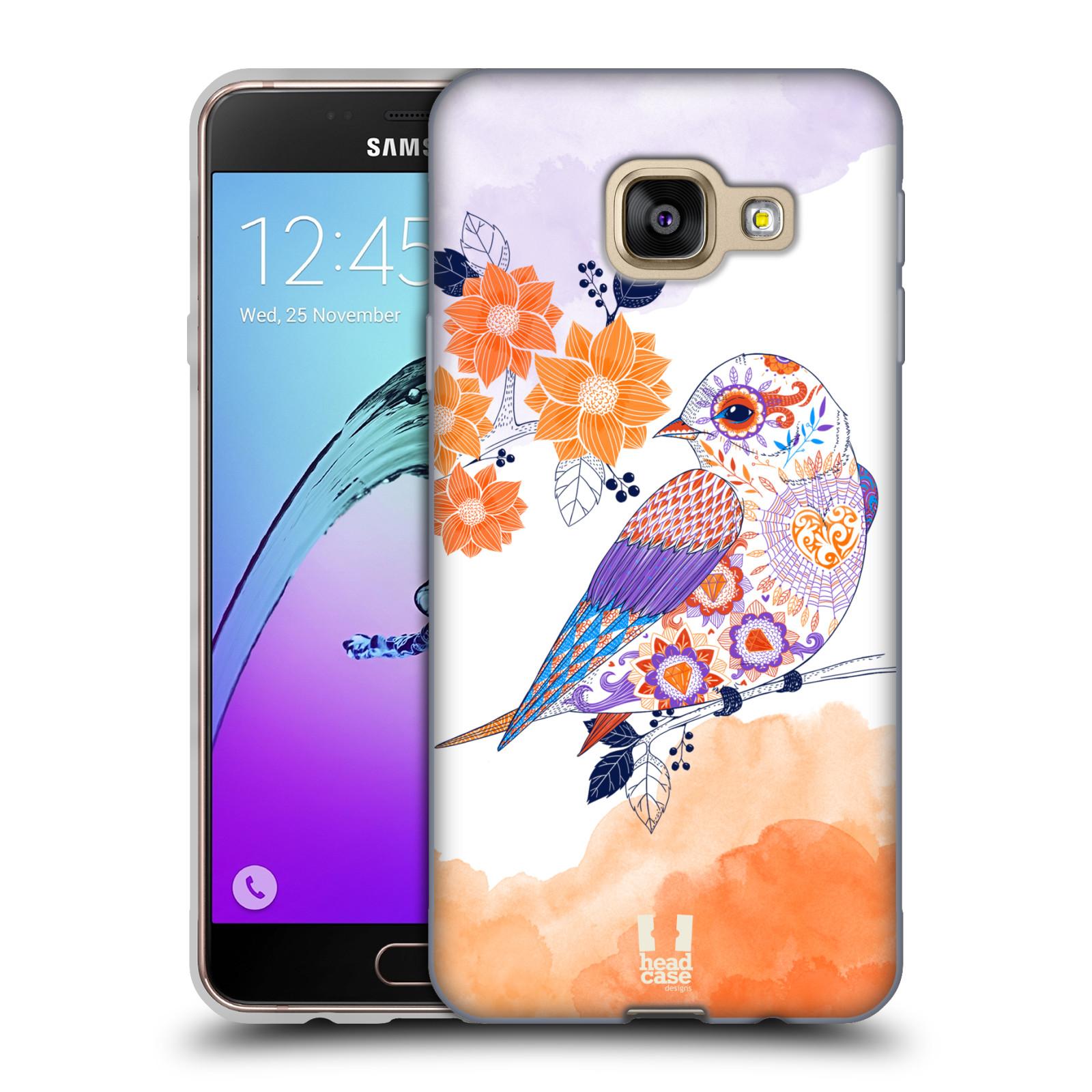 Silikonové pouzdro na mobil Samsung Galaxy A3 (2016) HEAD CASE PTÁČEK TANGERINE