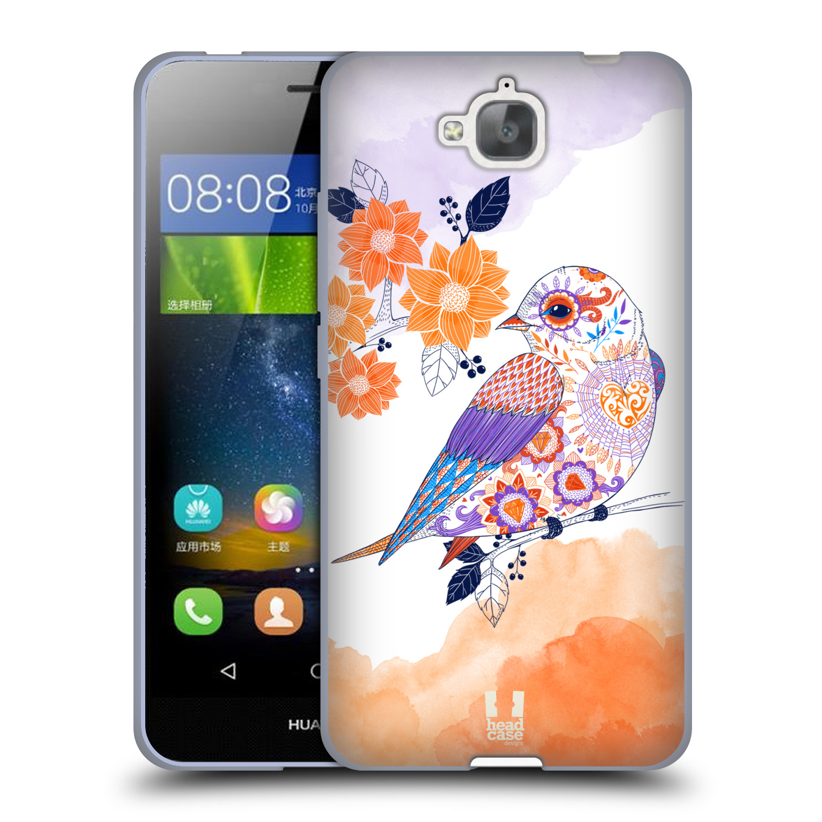 Silikonové pouzdro na mobil Huawei Y6 Pro Dual Sim HEAD CASE PTÁČEK TANGERINE