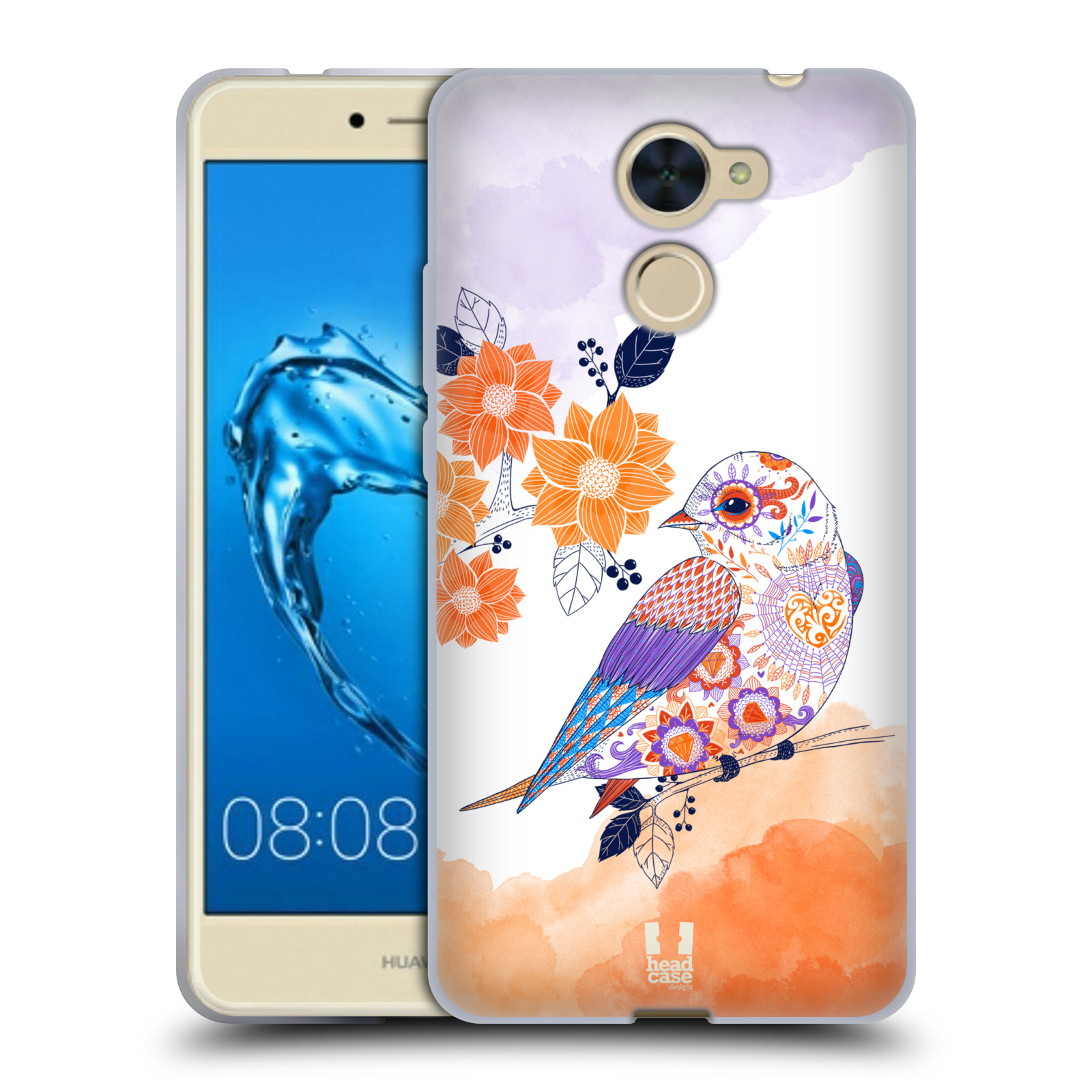 Silikonové pouzdro na mobil Huawei Y7 - Head Case - PTÁČEK TANGERINE