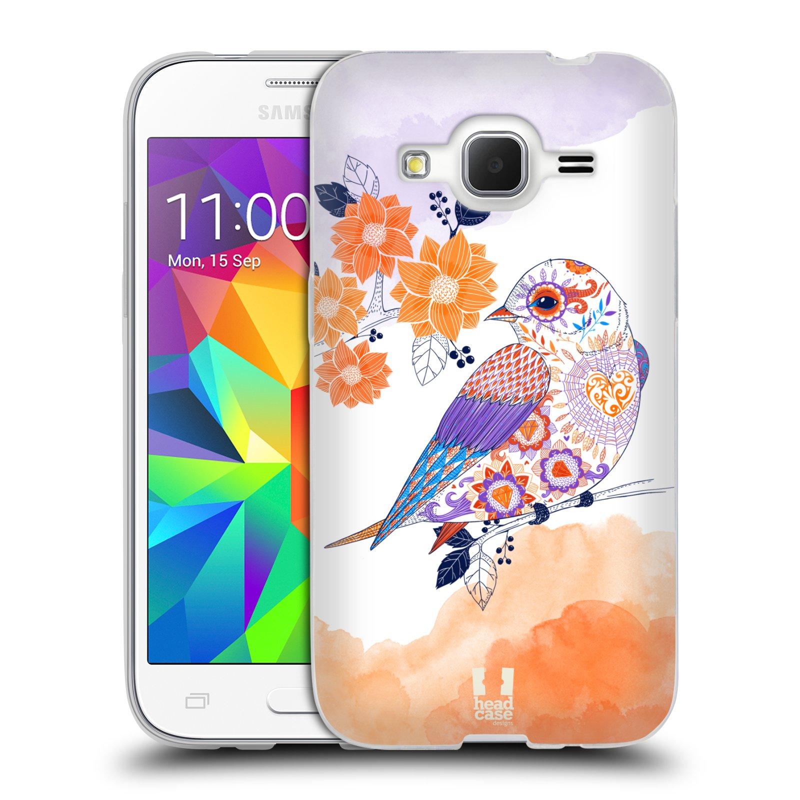 Silikonové pouzdro na mobil Samsung Galaxy Core Prime LTE HEAD CASE PTÁČEK TANGERINE