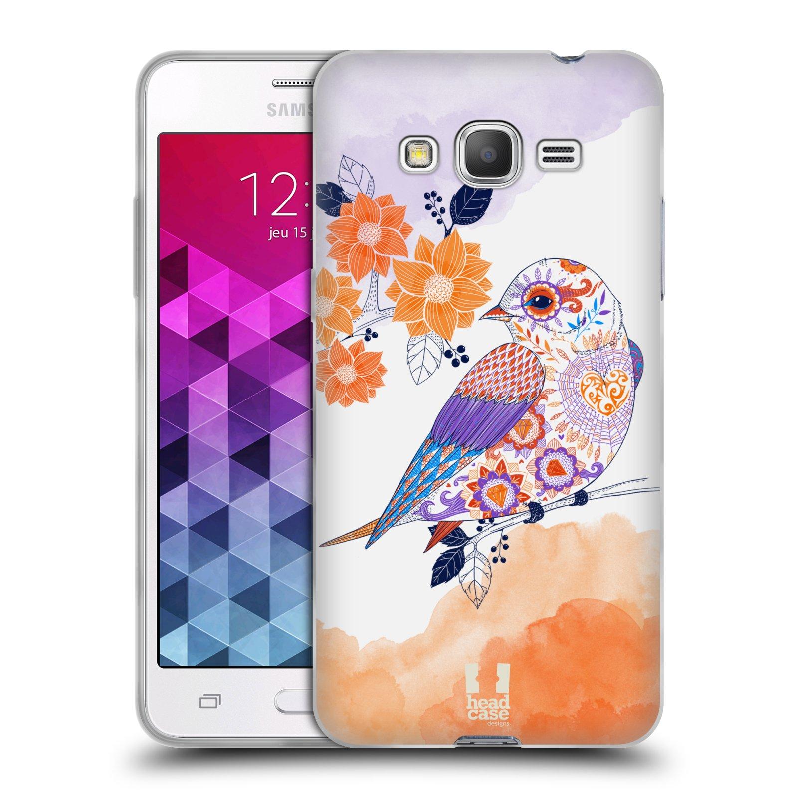 Silikonové pouzdro na mobil Samsung Galaxy Grand Prime HEAD CASE PTÁČEK TANGERINE
