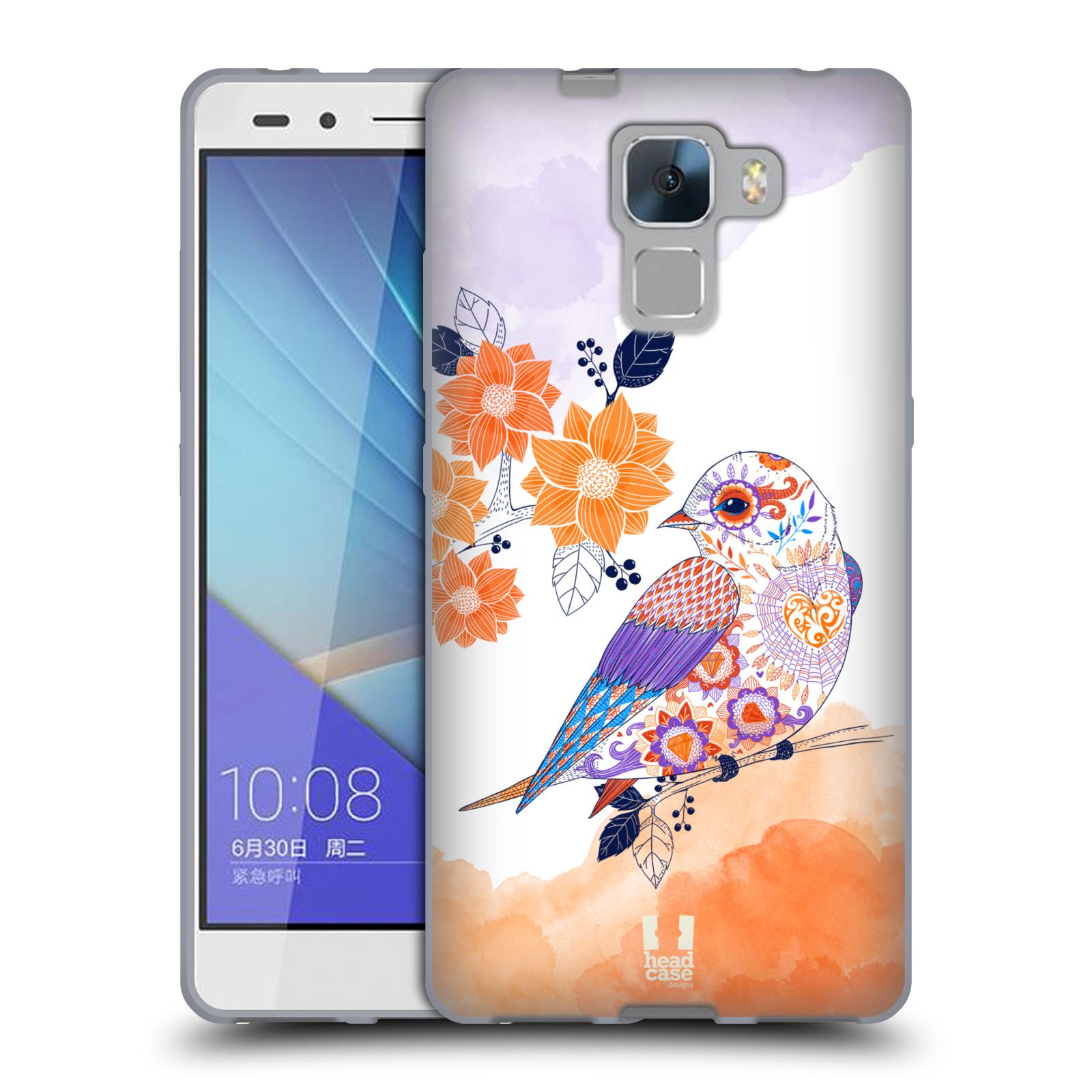 Silikonové pouzdro na mobil Honor 7 HEAD CASE PTÁČEK TANGERINE