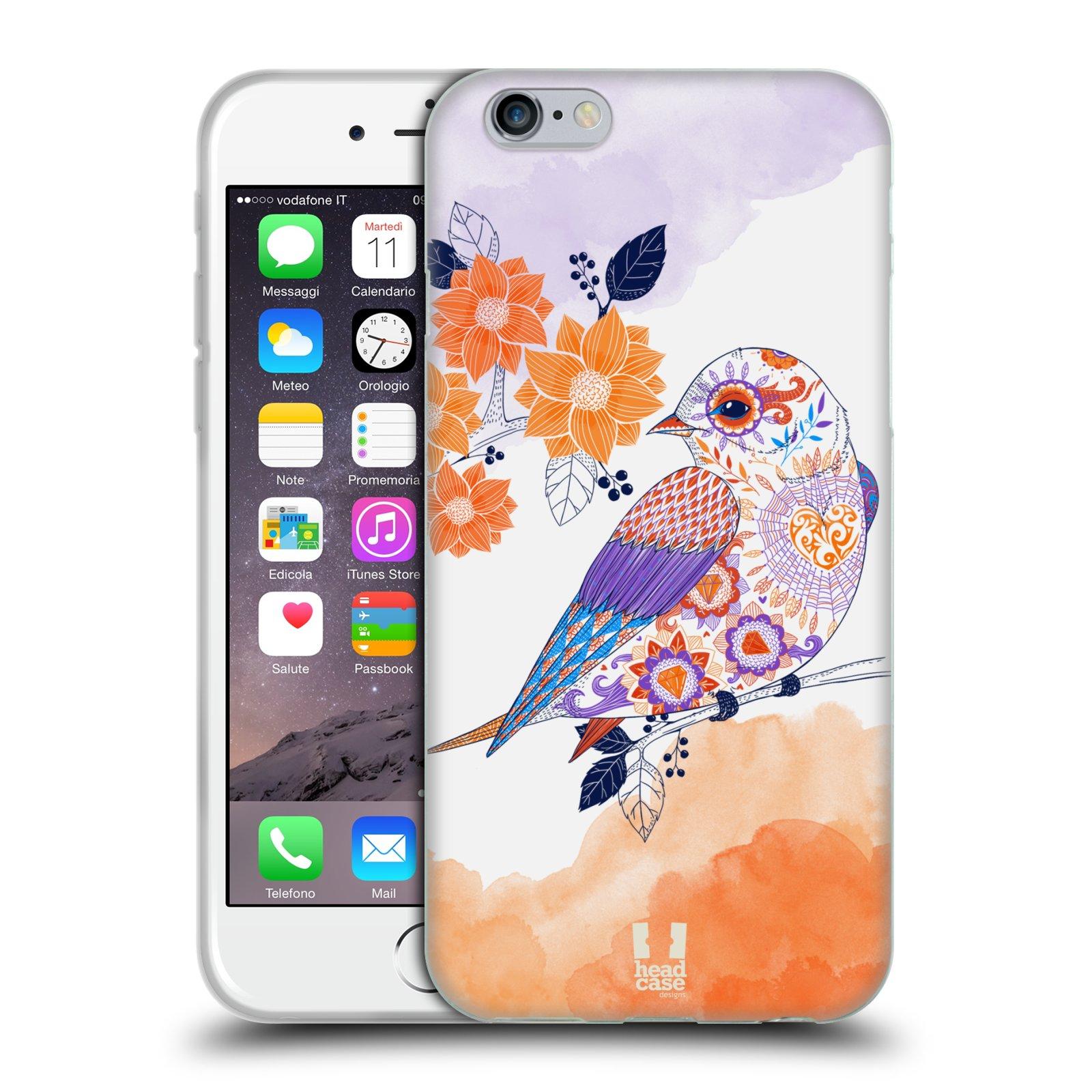 Silikonové pouzdro na mobil Apple iPhone 6 a 6S HEAD CASE PTÁČEK TANGERINE