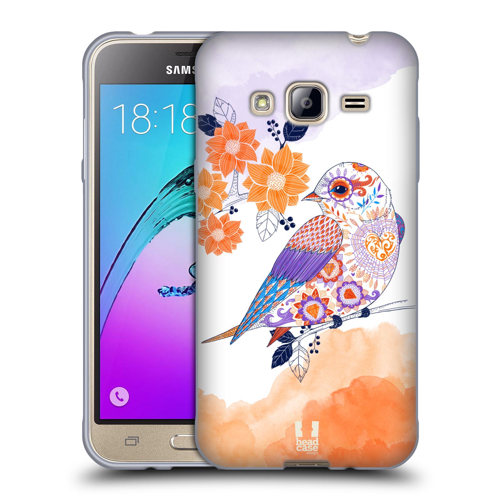 Silikonové pouzdro na mobil Samsung Galaxy J3 (2016) HEAD CASE PTÁČEK TANGERINE