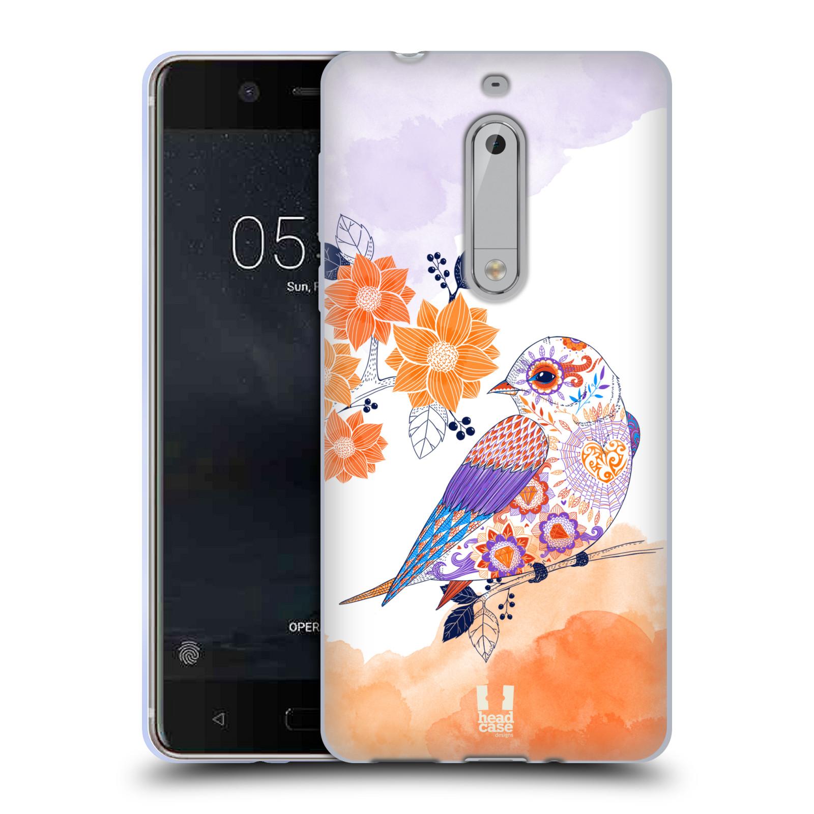 Silikonové pouzdro na mobil Nokia 5 Head Case - PTÁČEK TANGERINE