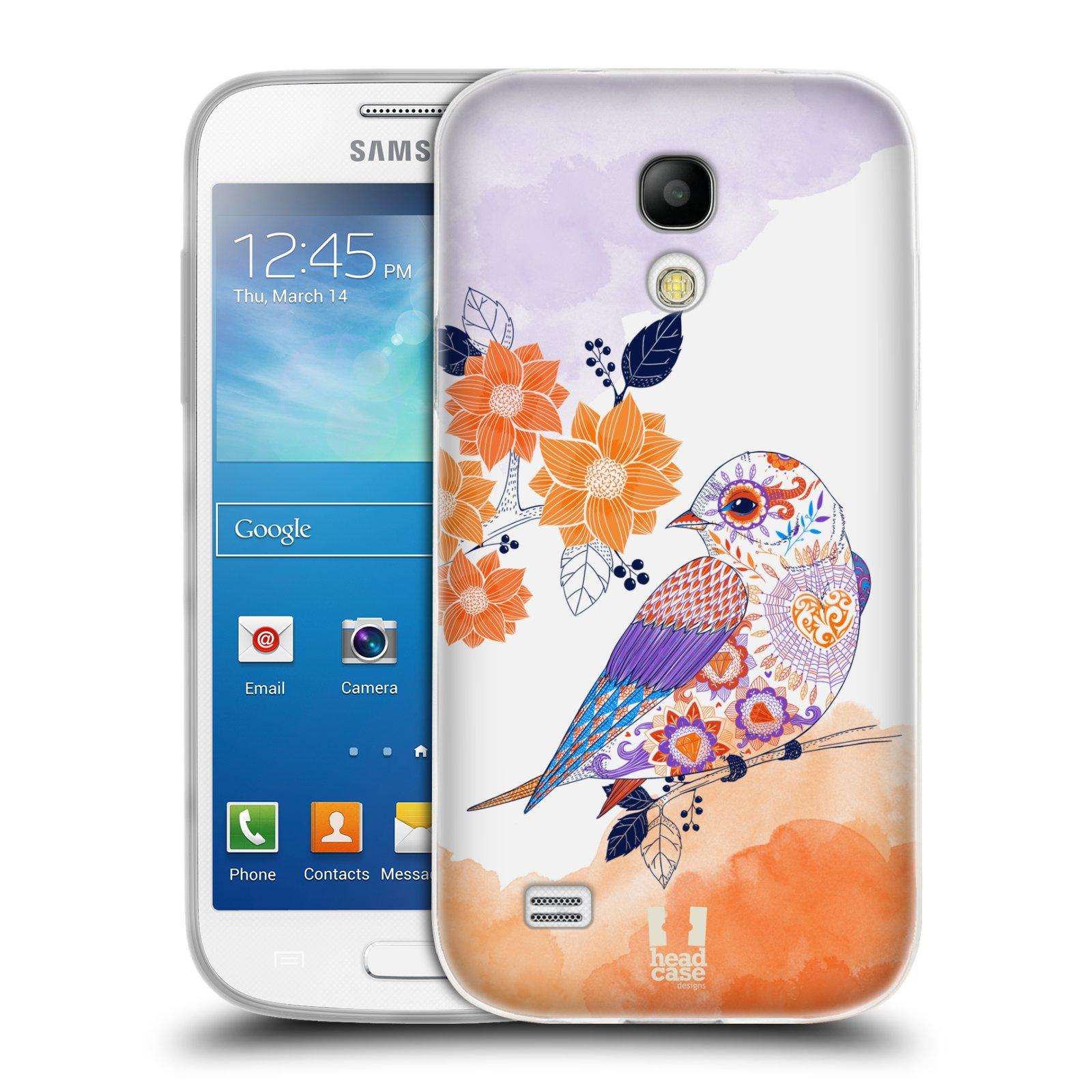Silikonové pouzdro na mobil Samsung Galaxy S4 Mini HEAD CASE PTÁČEK TANGERINE