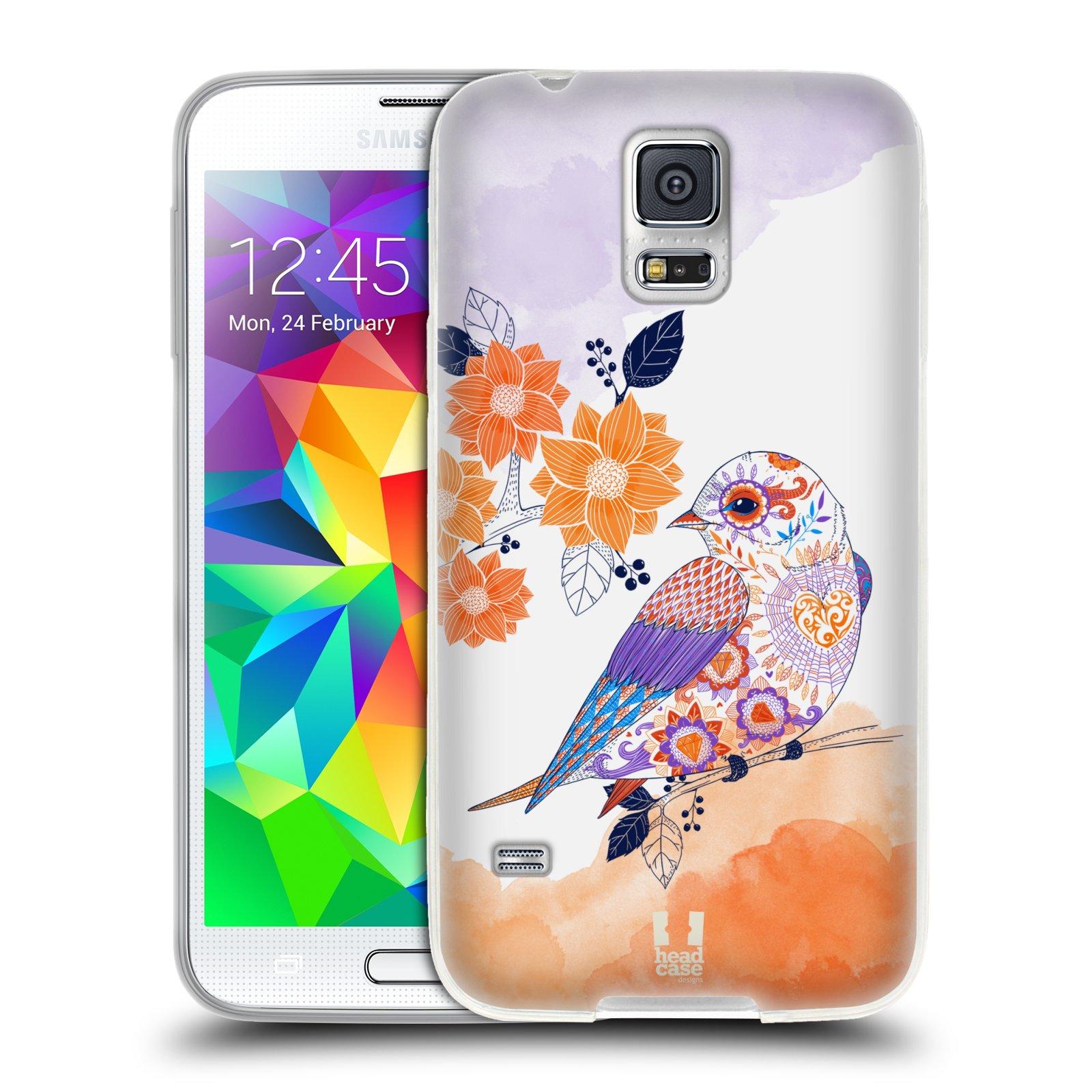 Silikonové pouzdro na mobil Samsung Galaxy S5 HEAD CASE PTÁČEK TANGERINE