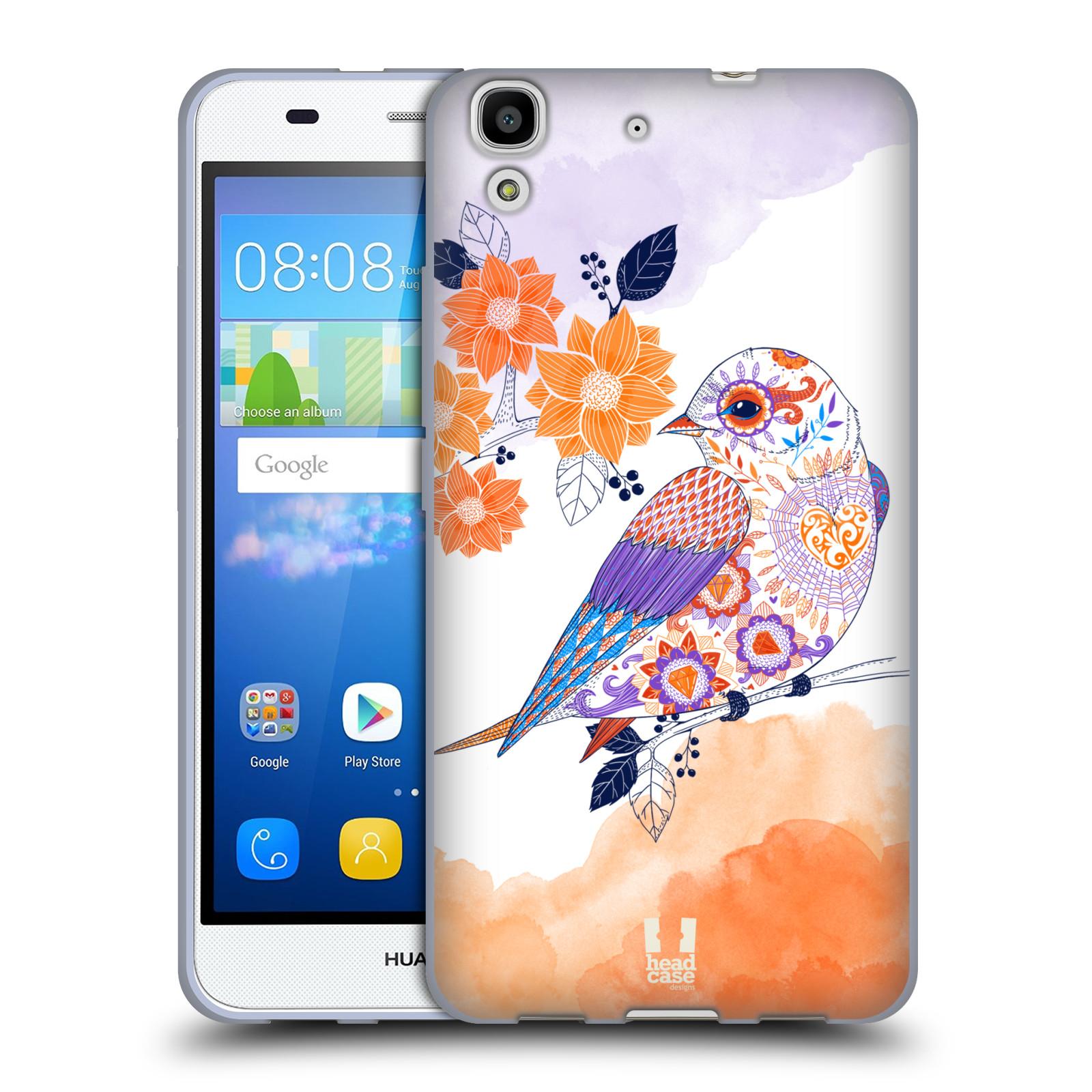 Silikonové pouzdro na mobil Huawei Y6 HEAD CASE PTÁČEK TANGERINE