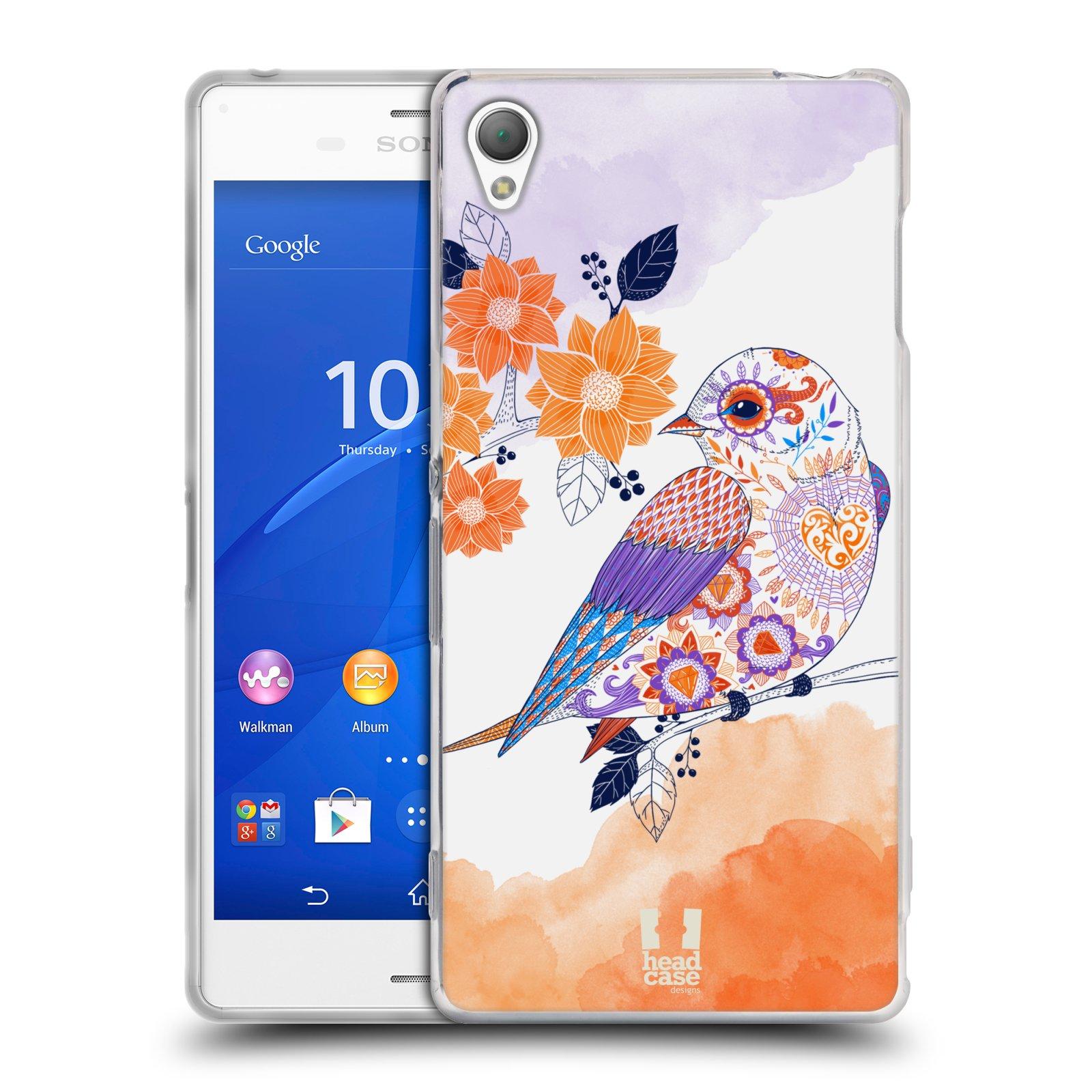 Silikonové pouzdro na mobil Sony Xperia Z3 D6603 HEAD CASE PTÁČEK TANGERINE