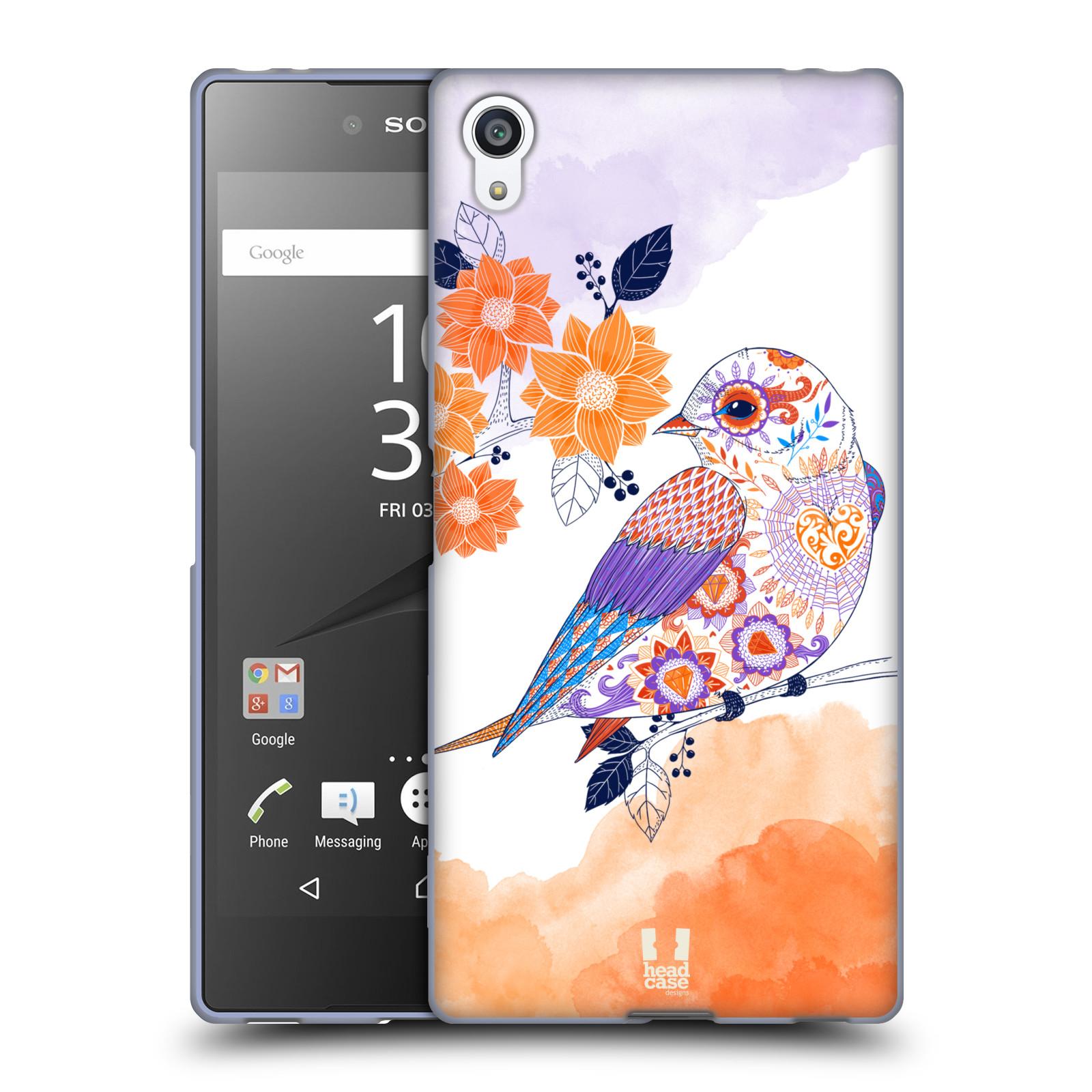 Silikonové pouzdro na mobil Sony Xperia Z5 Premium HEAD CASE PTÁČEK TANGERINE